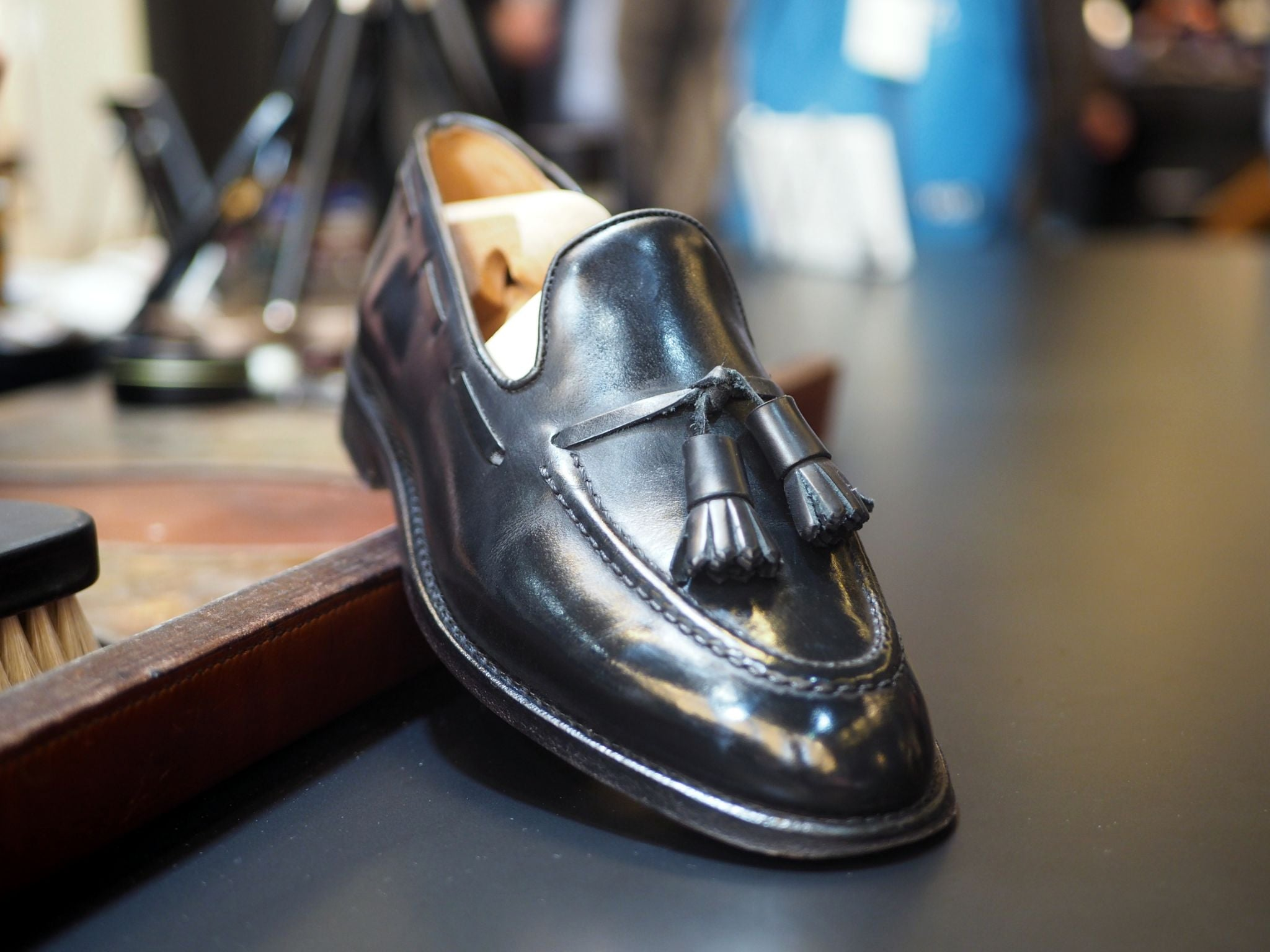 DLA Black shoes guide - my tassel loafers after shoecare and polishing