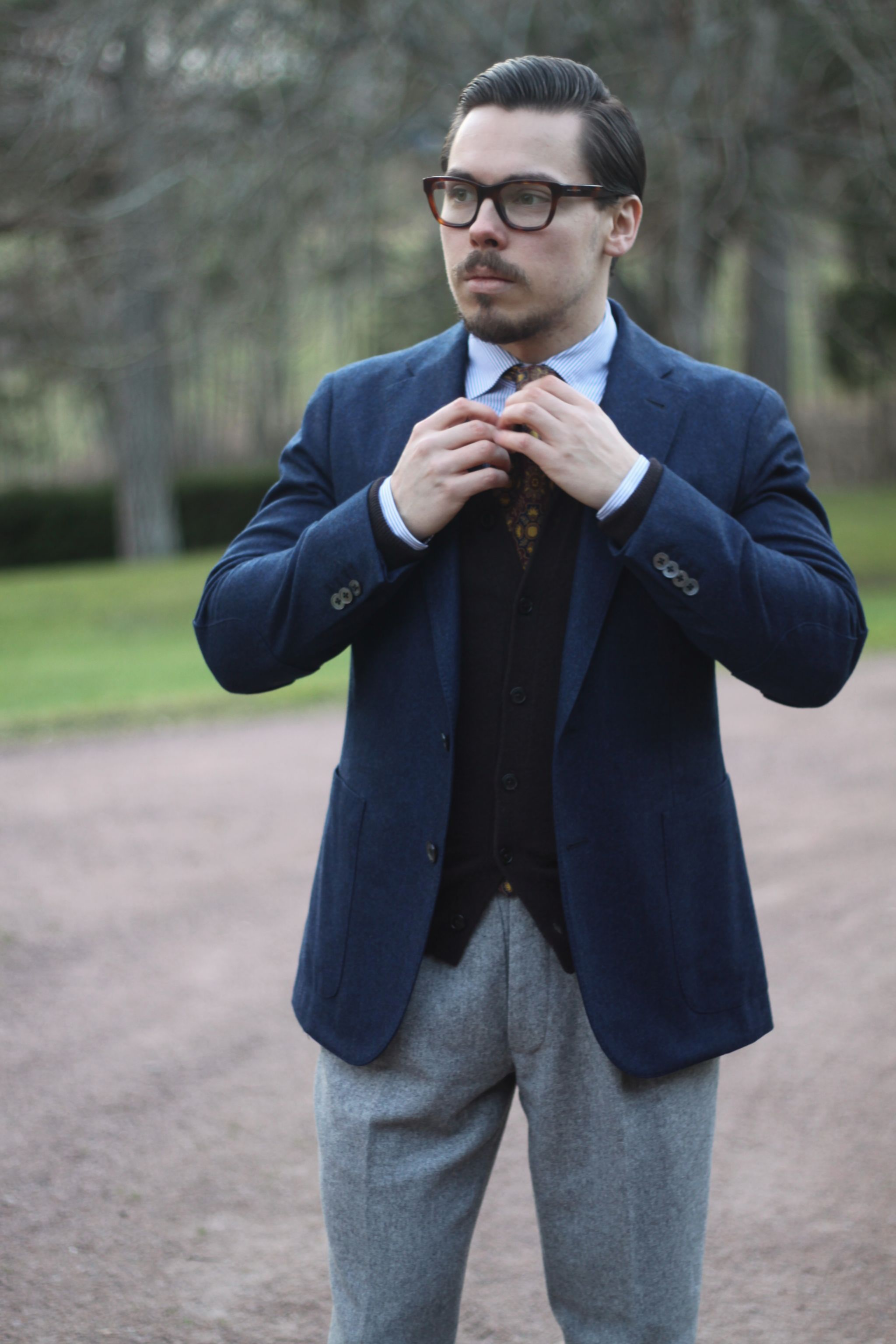 Blue flannel woll blazer - made in Italy