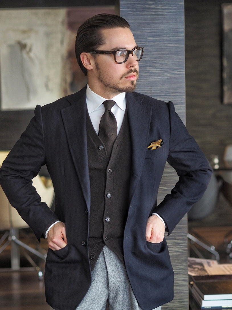 3 different ways to wear the blue suit - Blue-suit-jacket-with-cashmere-cardigan-and-gray-flannel-trousers-for-smart-casual