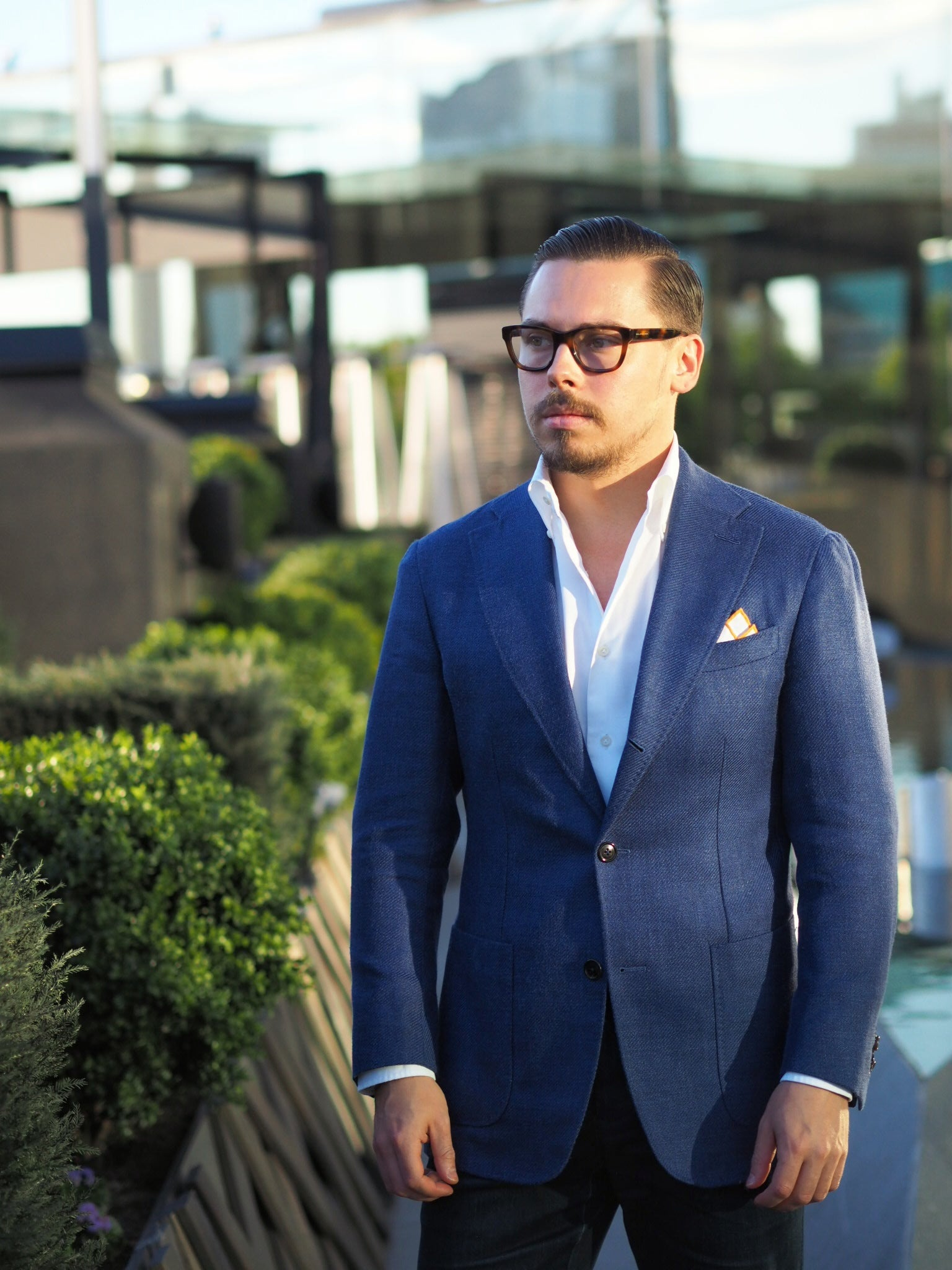 Blue suit jacket as a sport coat - remember to pay attention to the fit of your jacket