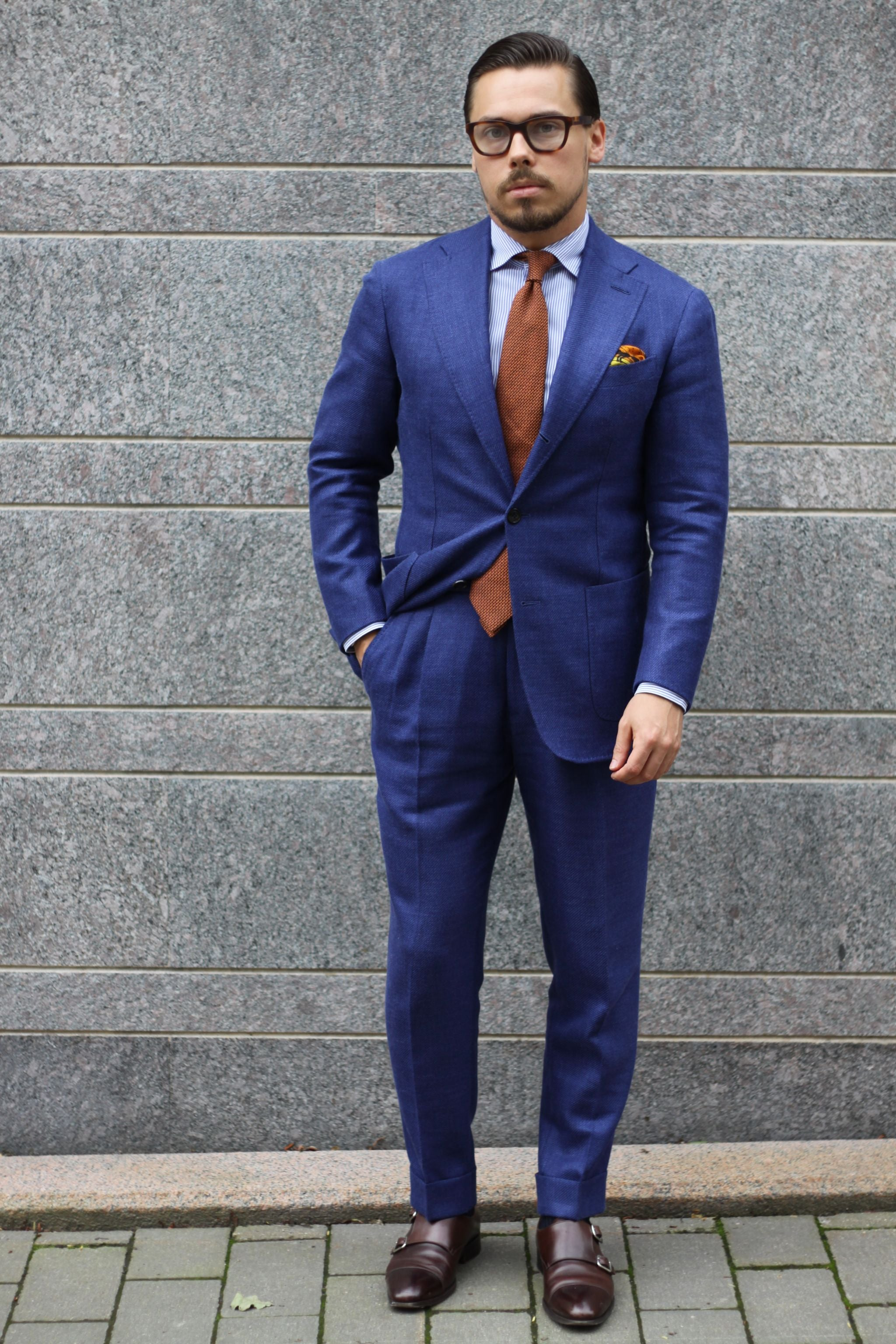 Blue suit light blue shirt and brown calf leather shoes