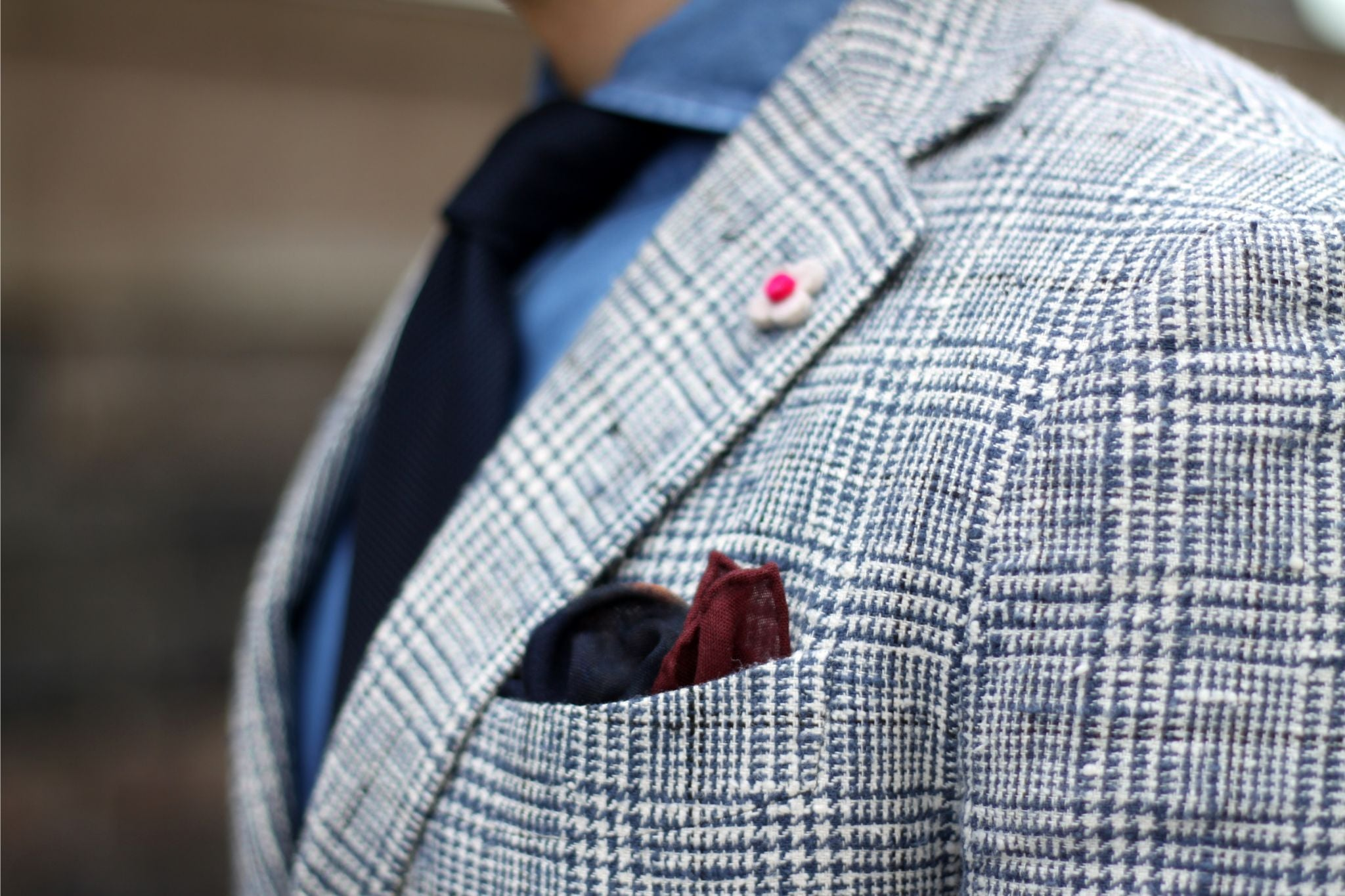 Checked sport coat details - blue wool pocket square with burgundy borders