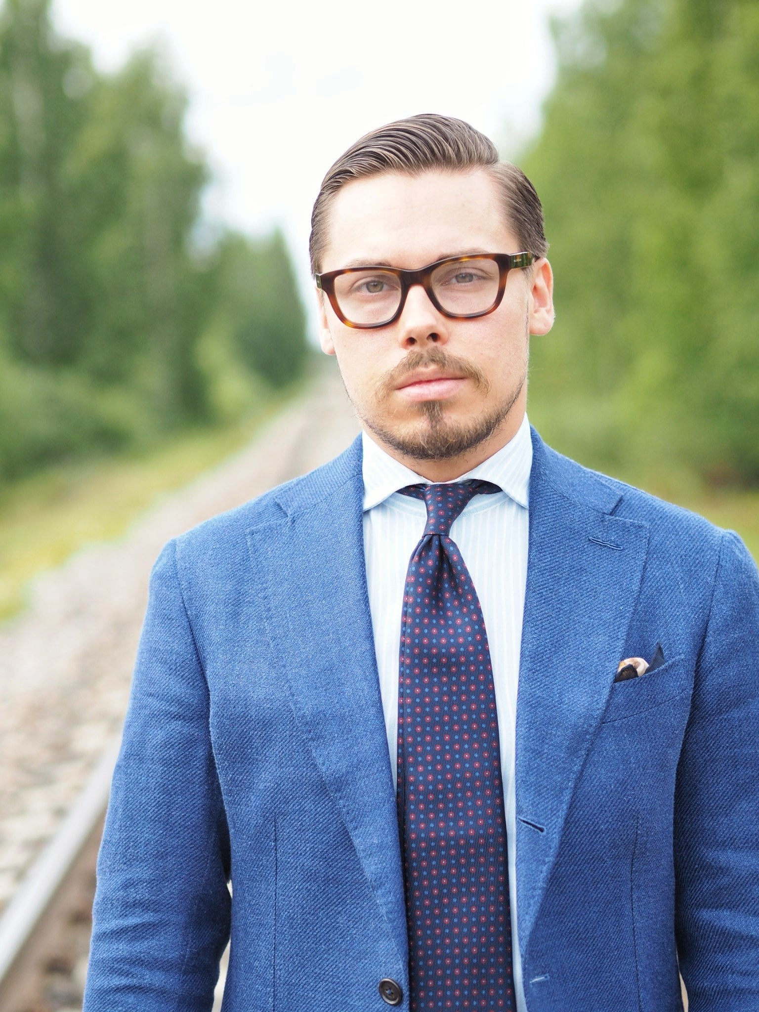 Blue suit jacket as a sport coat - portrait for business wear