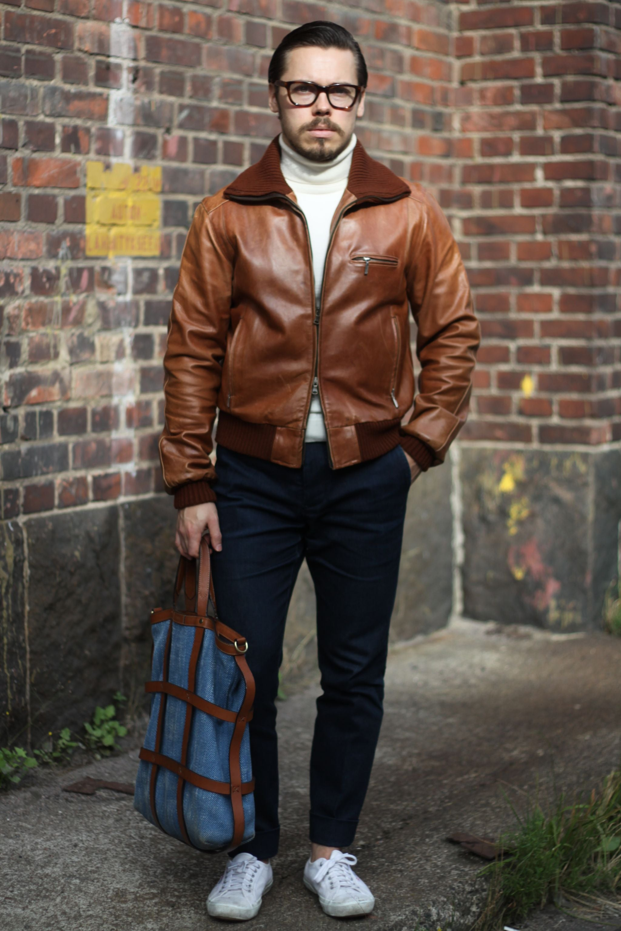 Brown A-1 leather jacket with dark blue denim