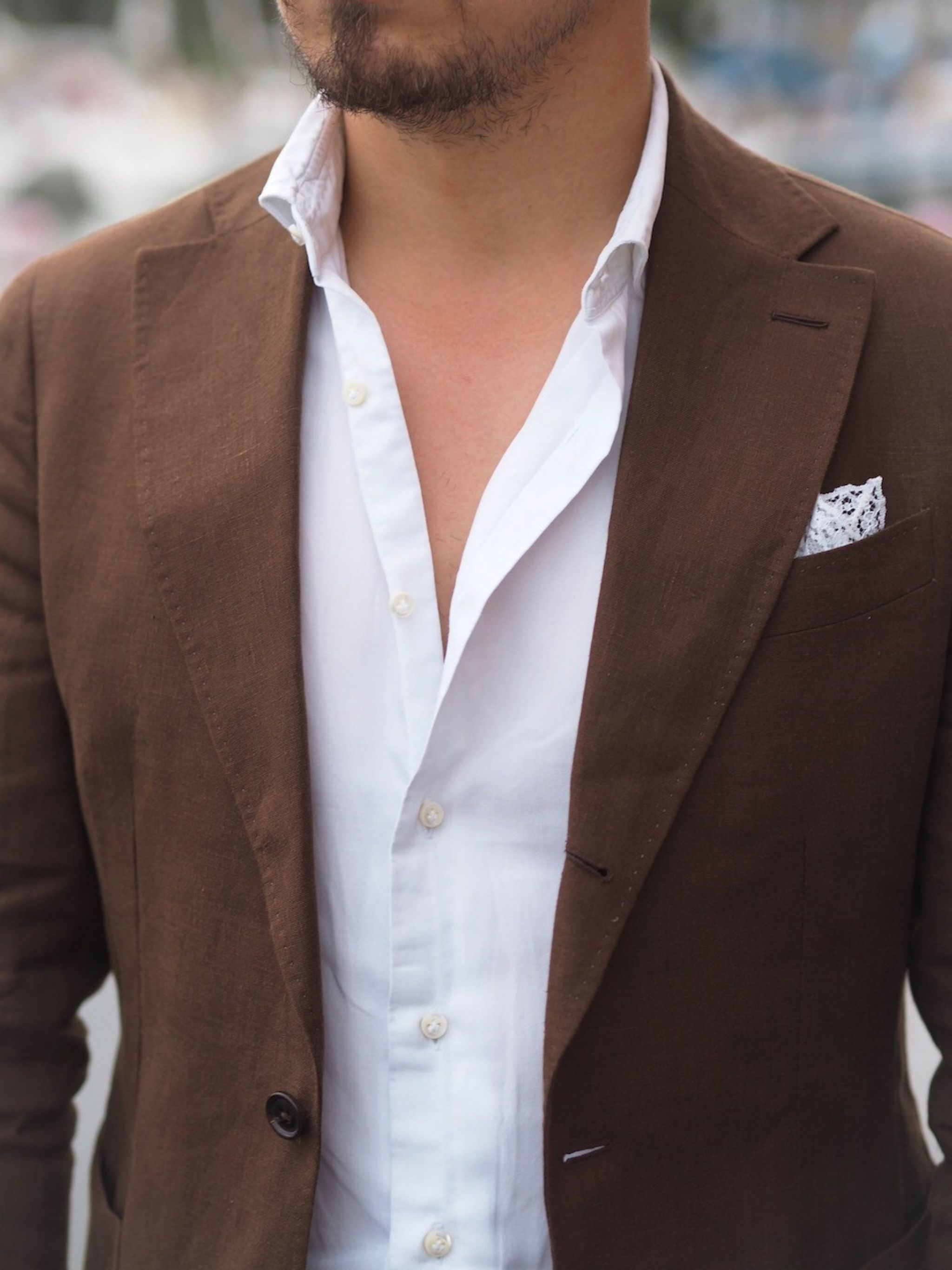 Brown linen suit jacket with white DLA oxford shirt detail