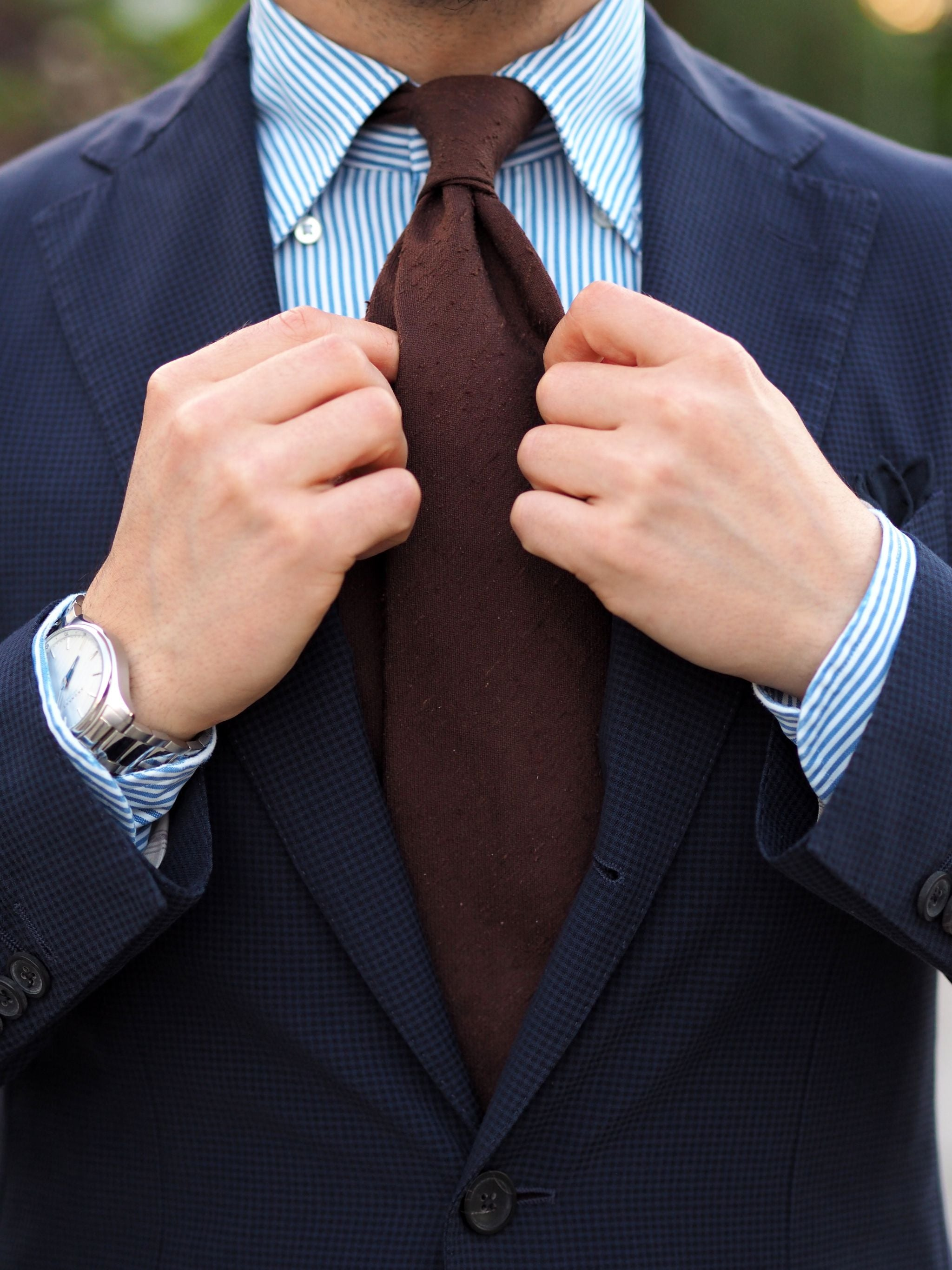 Sport coat with jeans - DLA brown shantung tie with the Lardini jacket