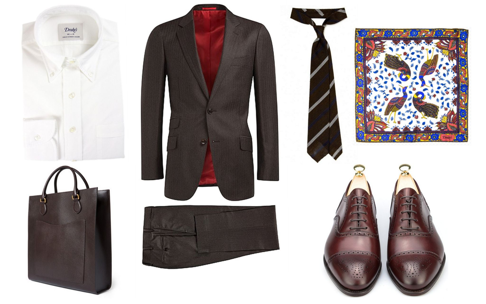 Brown suit with burgundy shoes