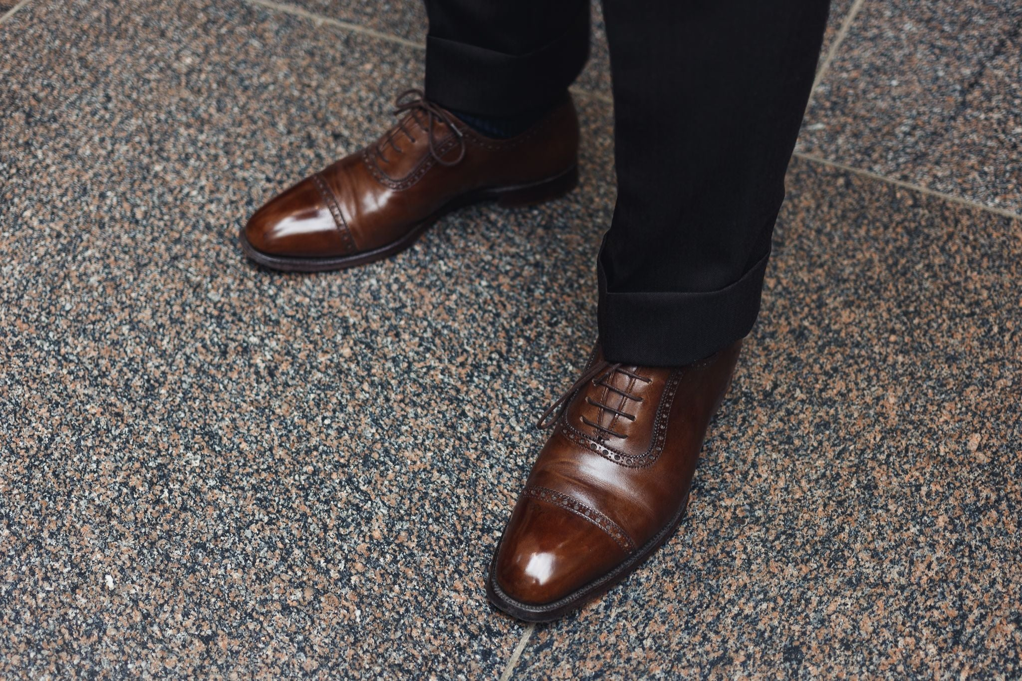 Brown business suit - brown calf leather oxfords with the suit.