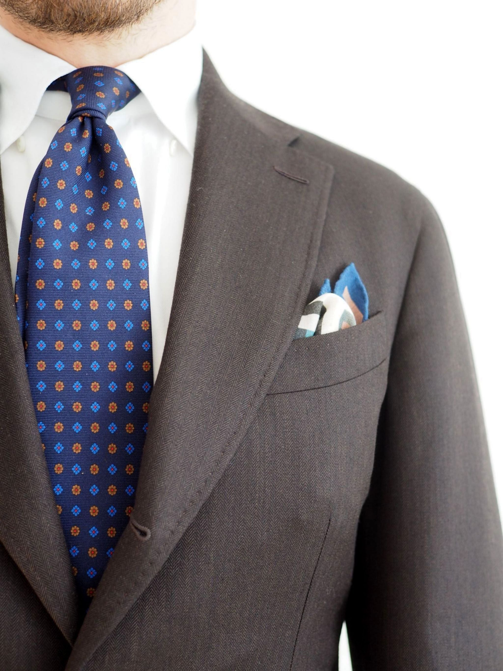 Favorite suits - brown herringbone wool with floral print silk and white poplin cotton