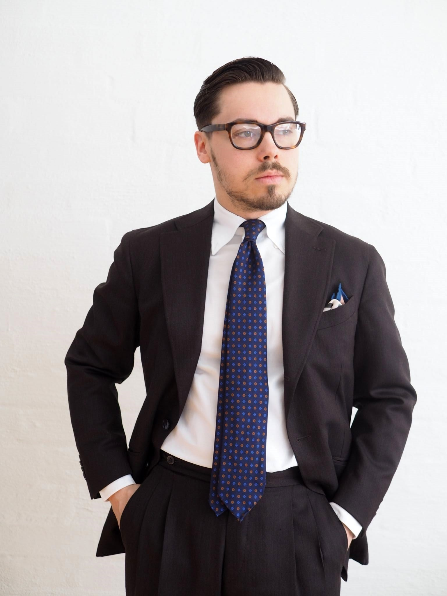 Favorite suit - brown herringbone suit with floral tie and wool-silk pocket square