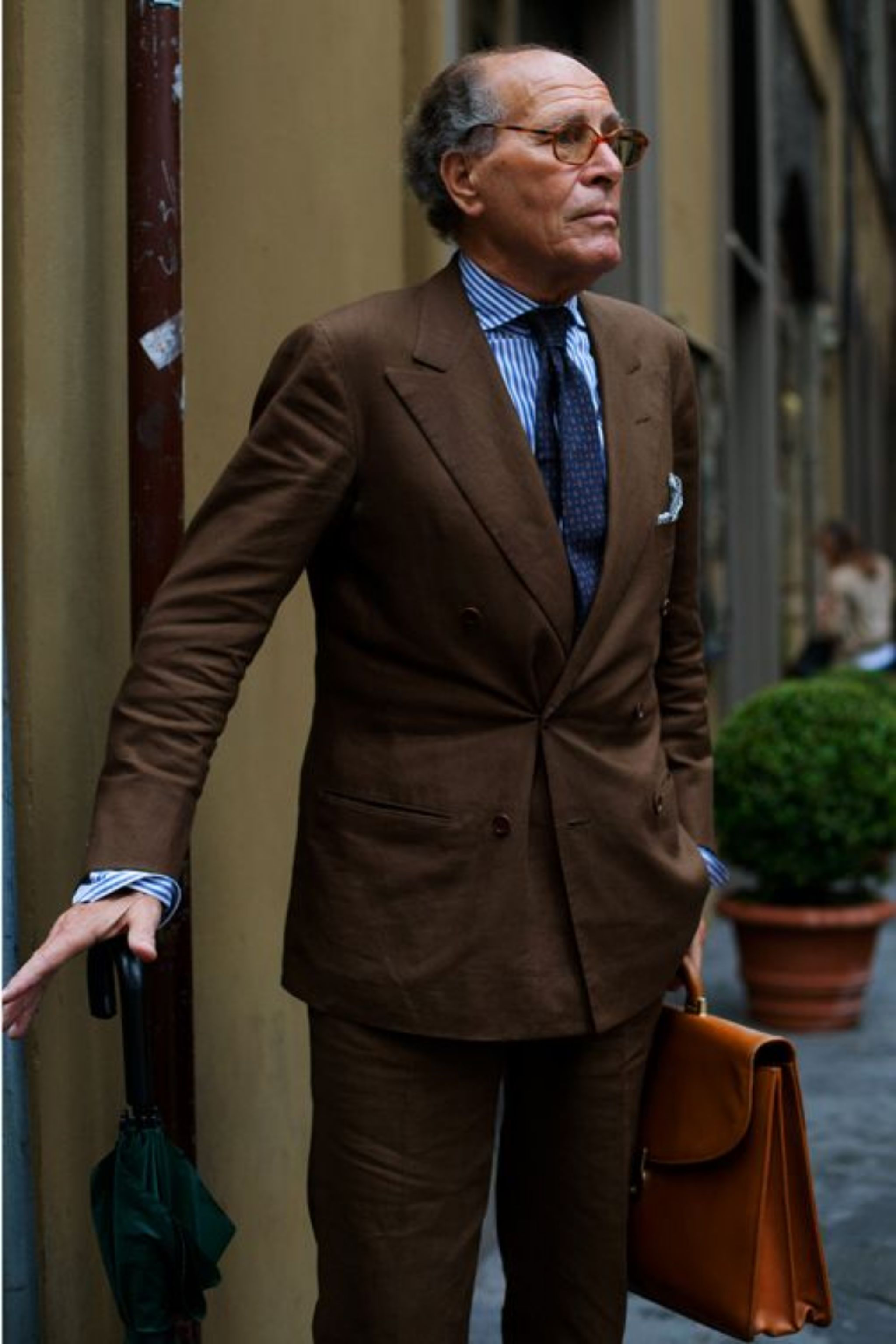 Brown suit with light blue shirt and blue tie