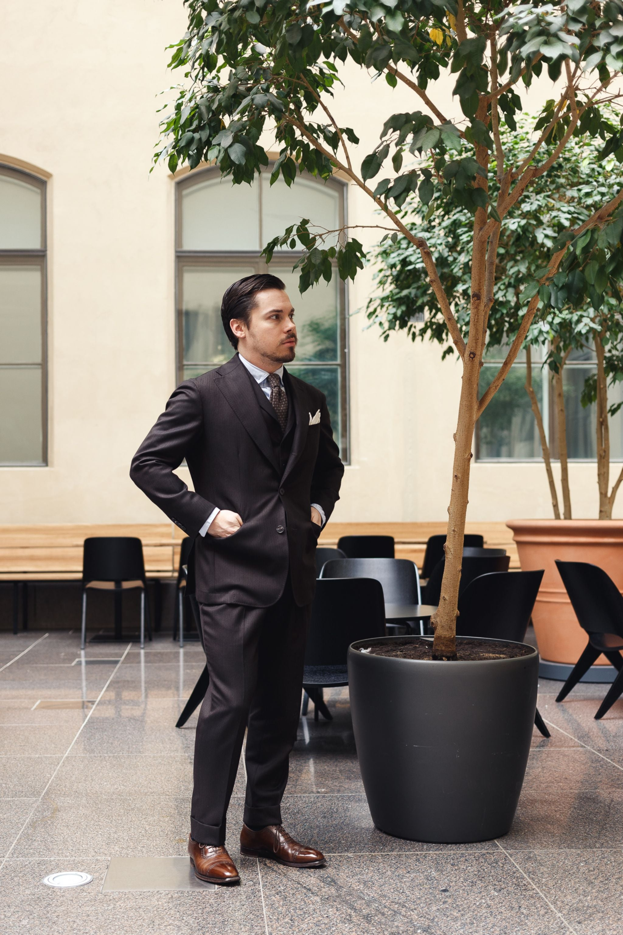 Brown business suit - three-piece gives you more possible combinations.