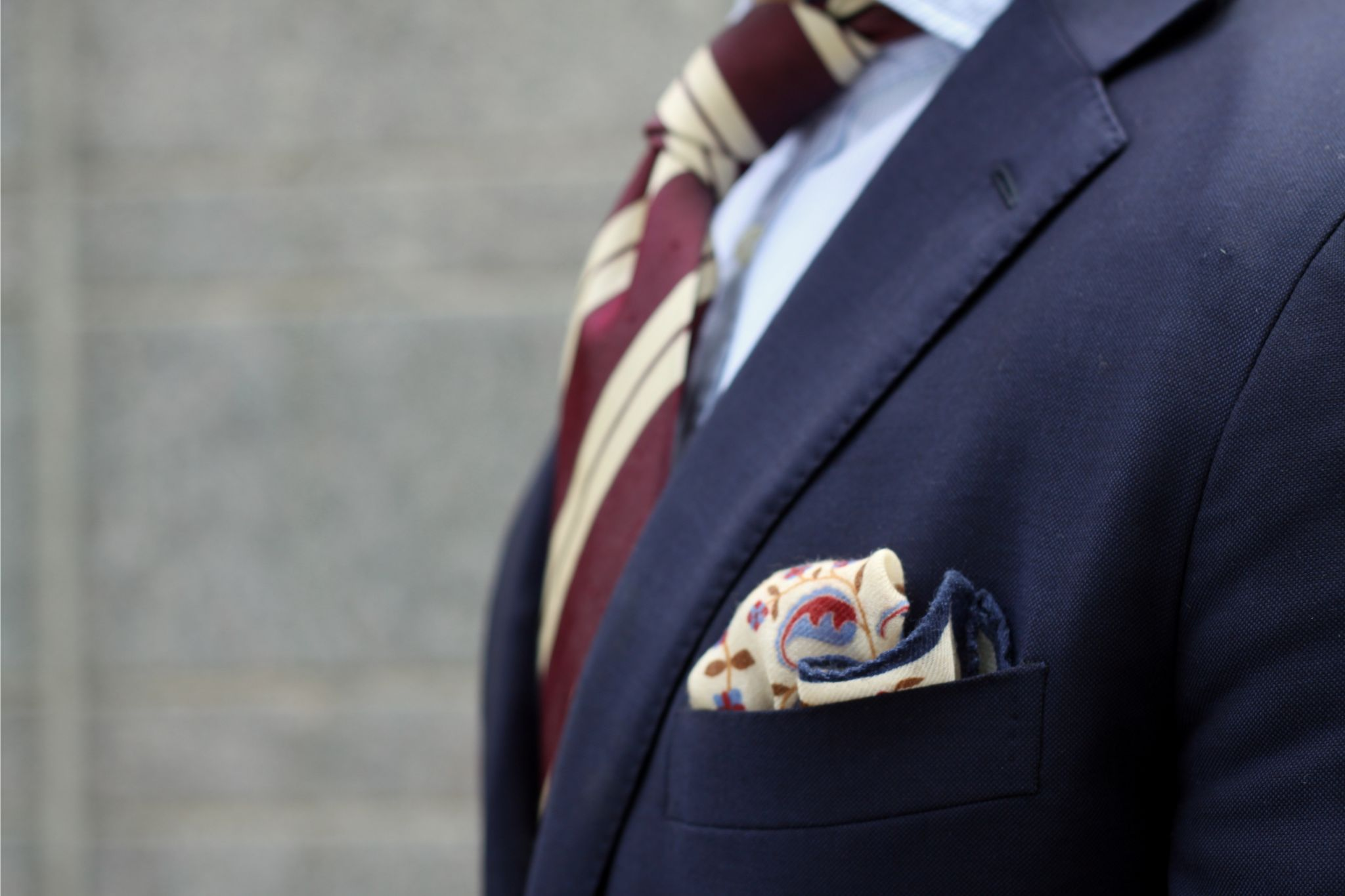 Burgundy accessories - wool pocket square with blue and burgundy details