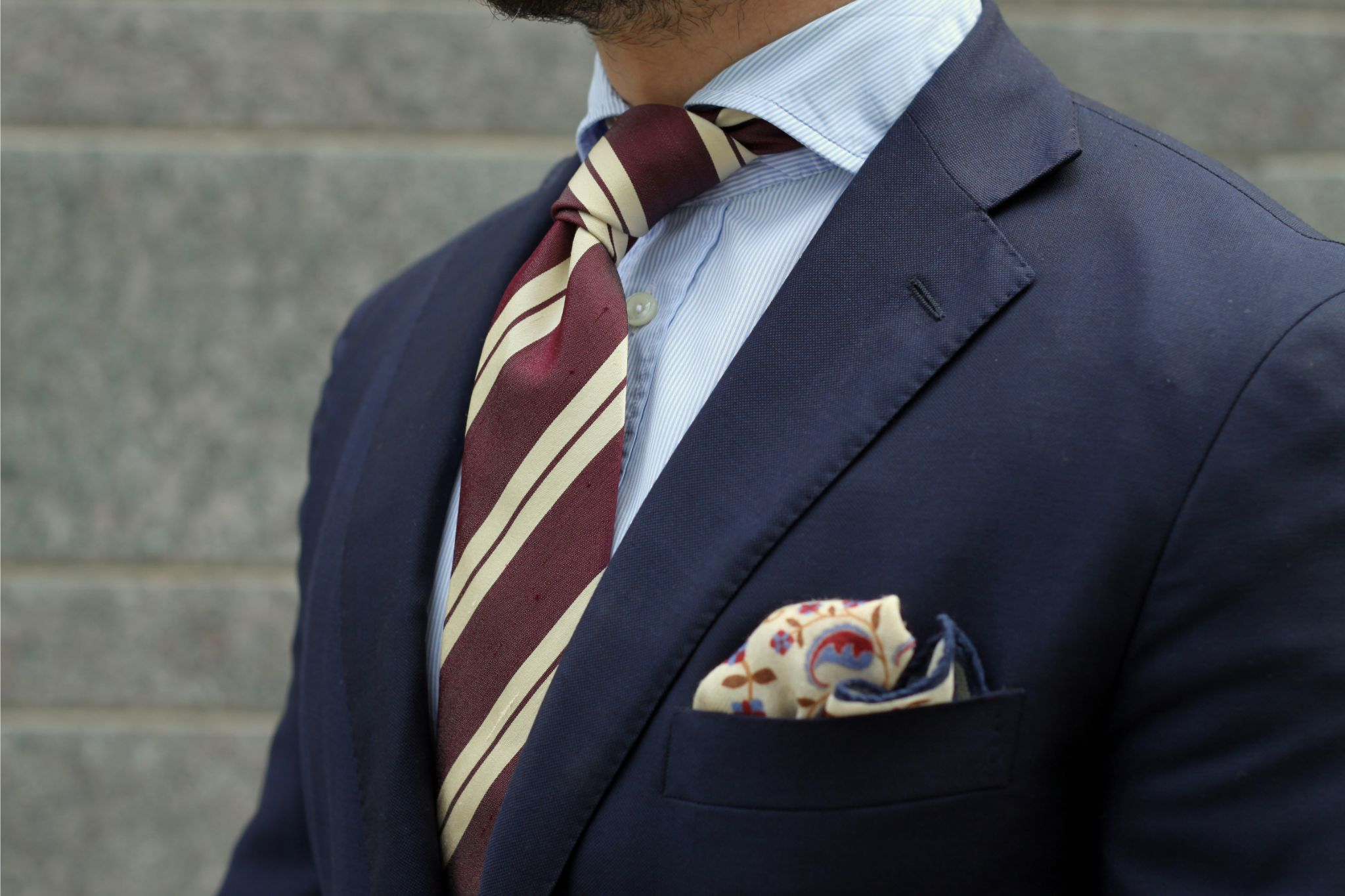 Burgundy accessories - striped shantung tie and double FiH-knot