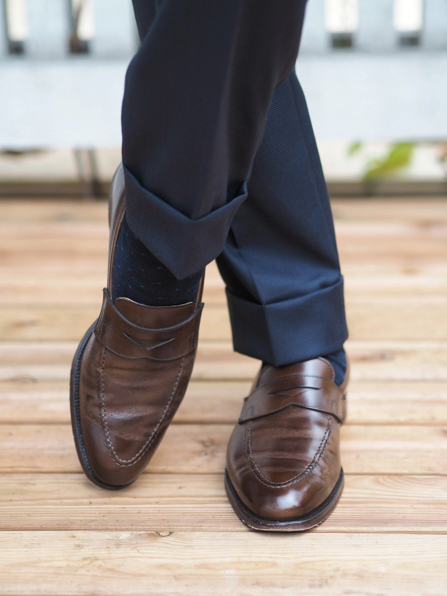 Blue suit for summer weddings party - Calf leather penny loafers with blue suit and socks