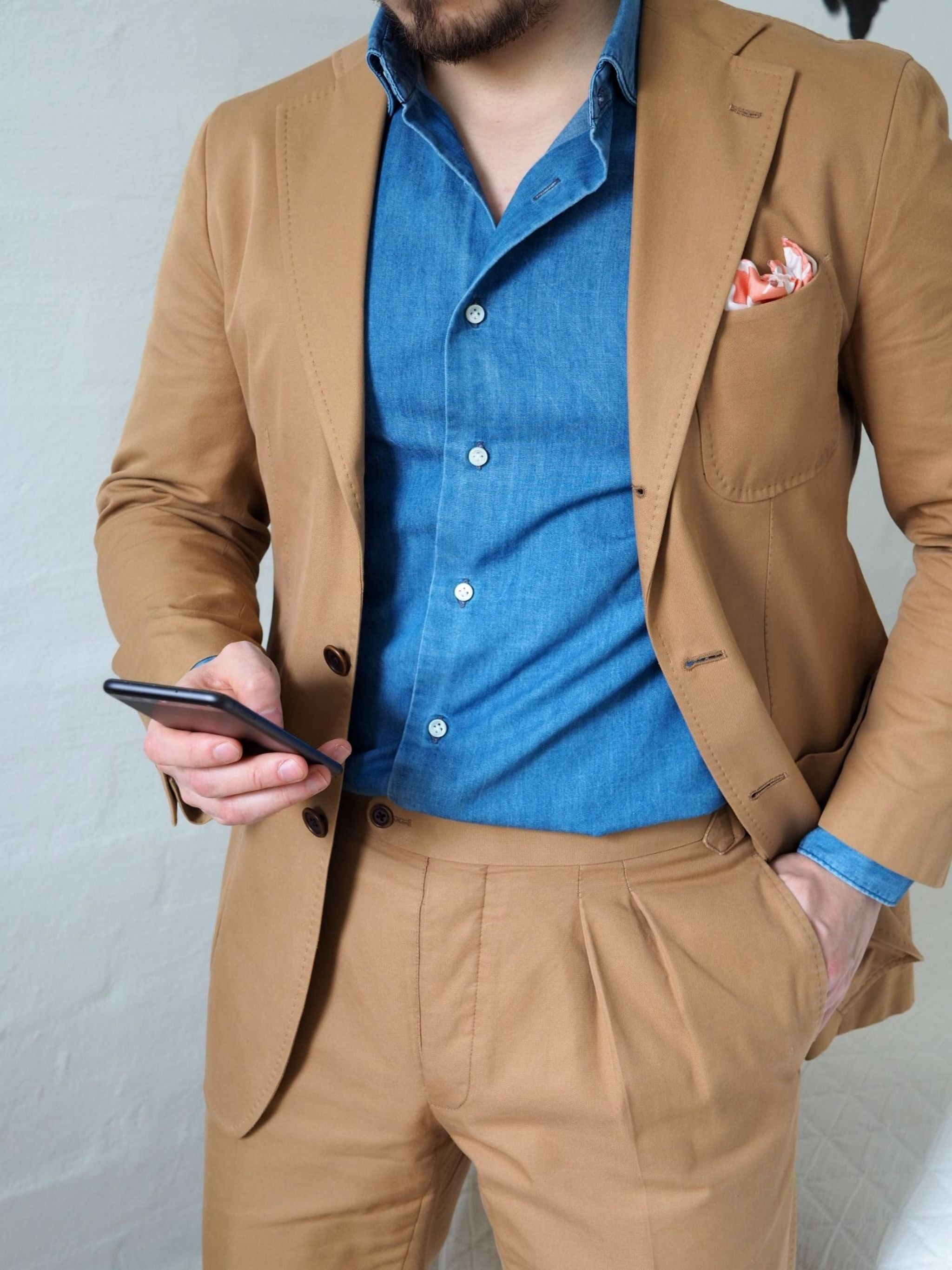 Favorite suits - Soft washed denim shirt with camel colored cotton suit details