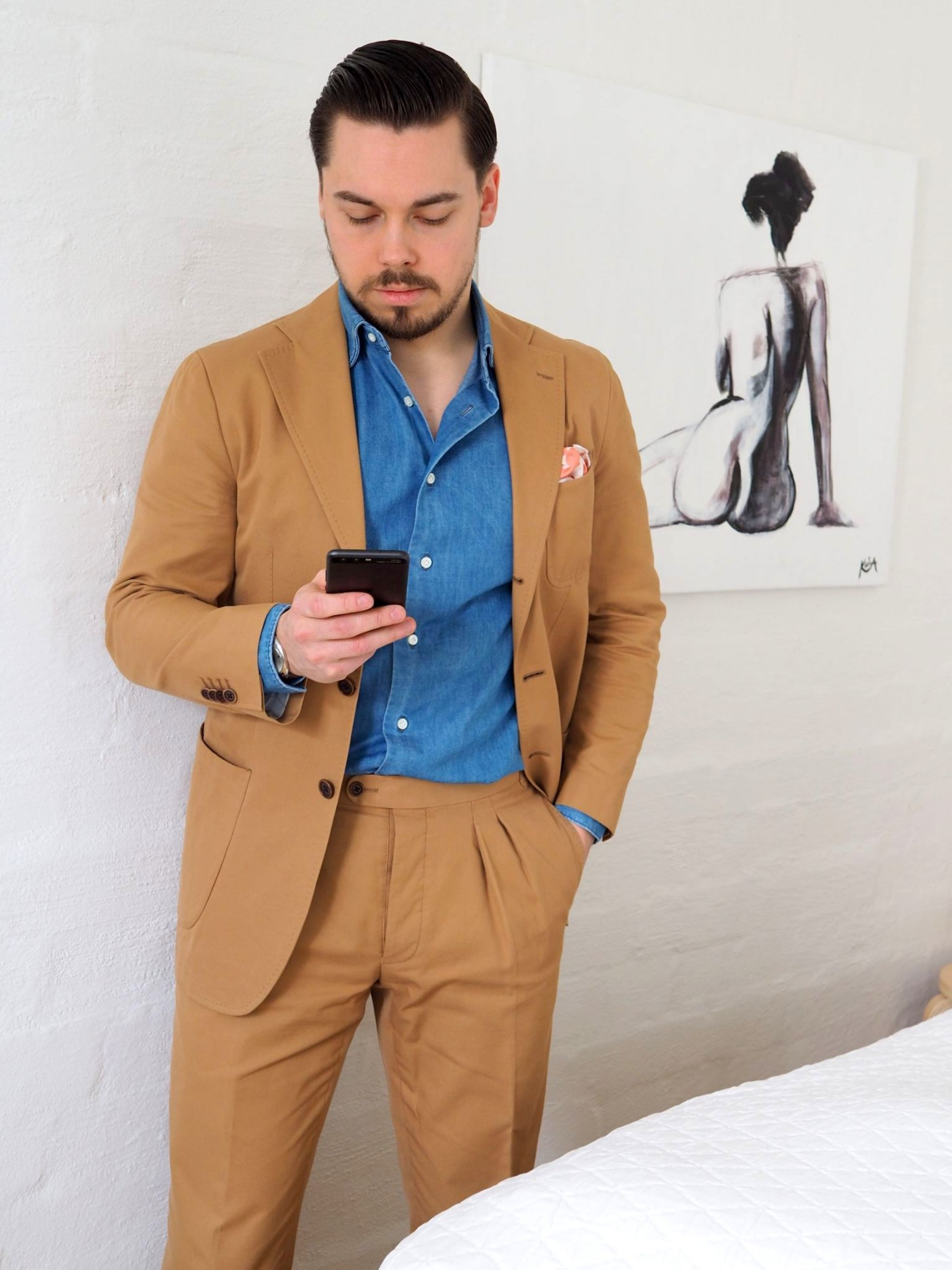 Favorite suits - camel colored cotton suit with DLA denim shirt