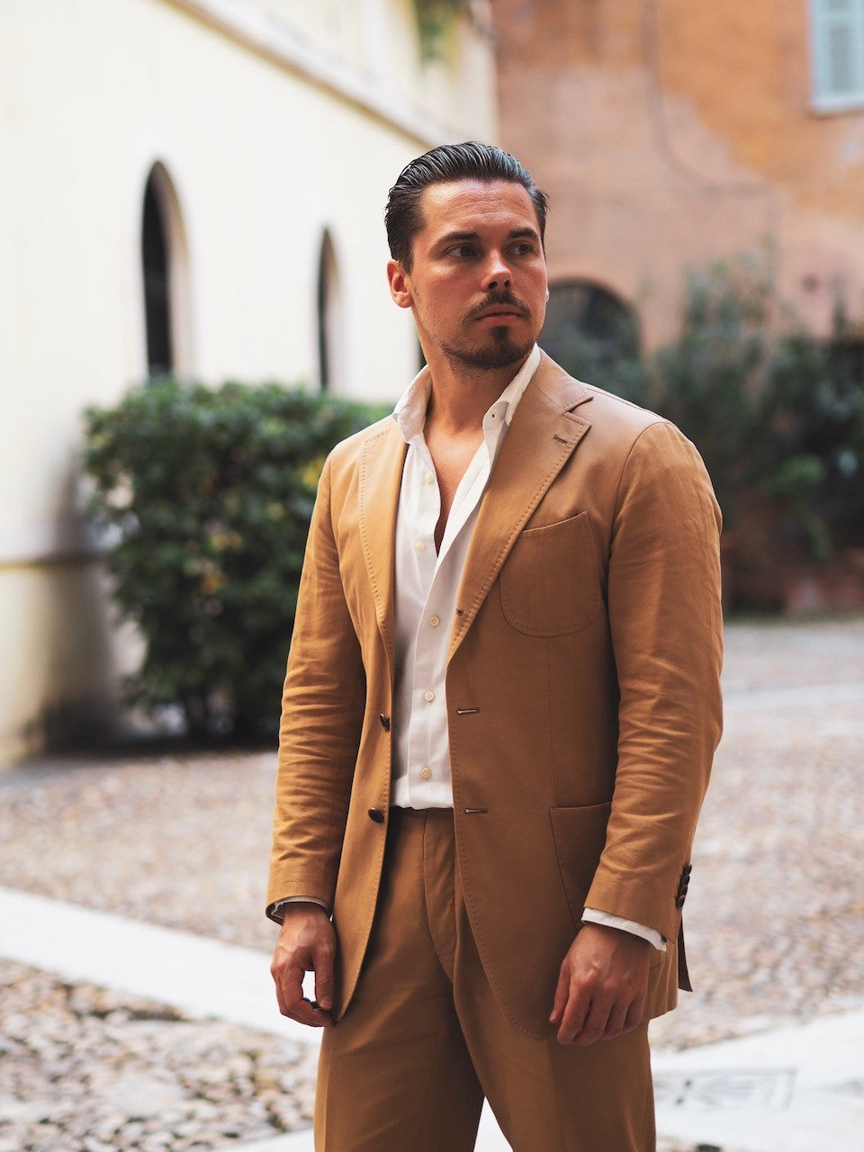 Camel cotton suit and DLA white oxford shirt