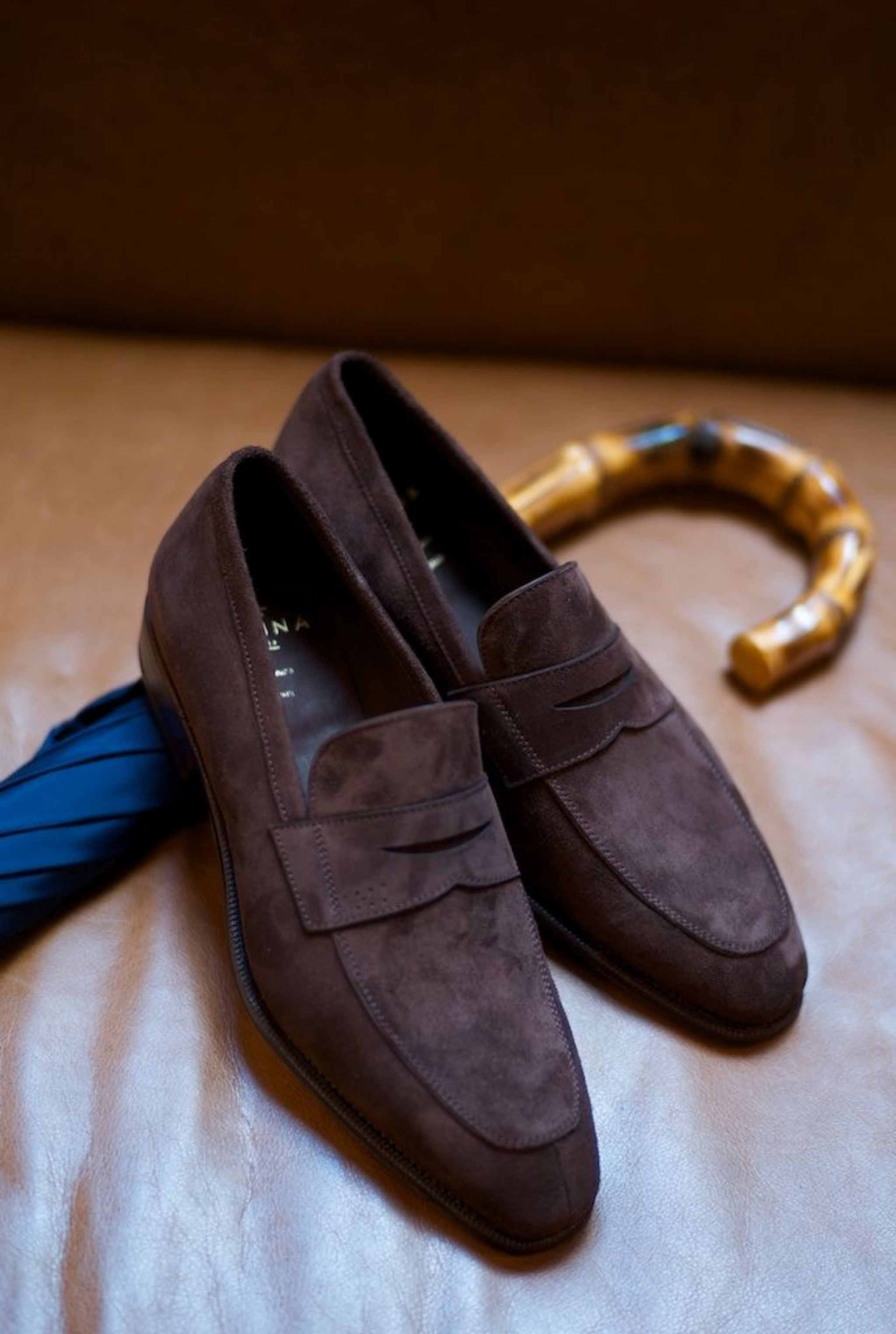 Carmina brown suede penny loafers