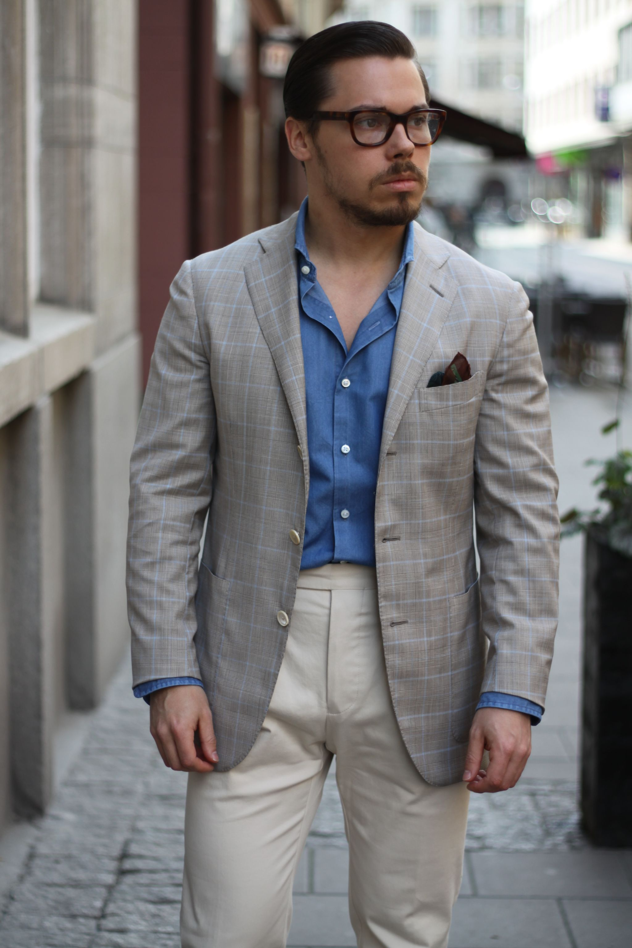 Caruso checked sport coat with highwaist cotton trousers