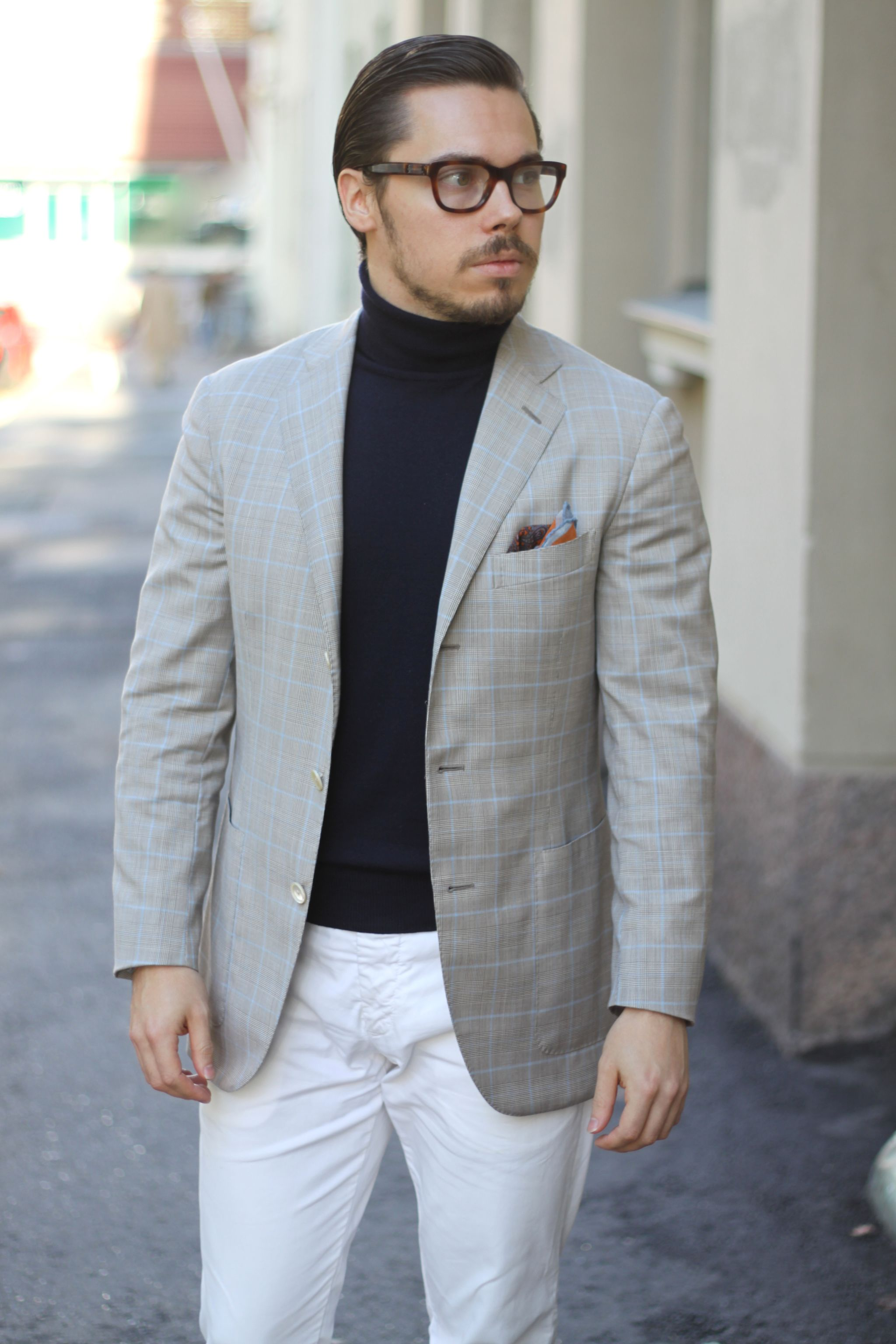 Sport coat with roll neck sweater and cotton slacks