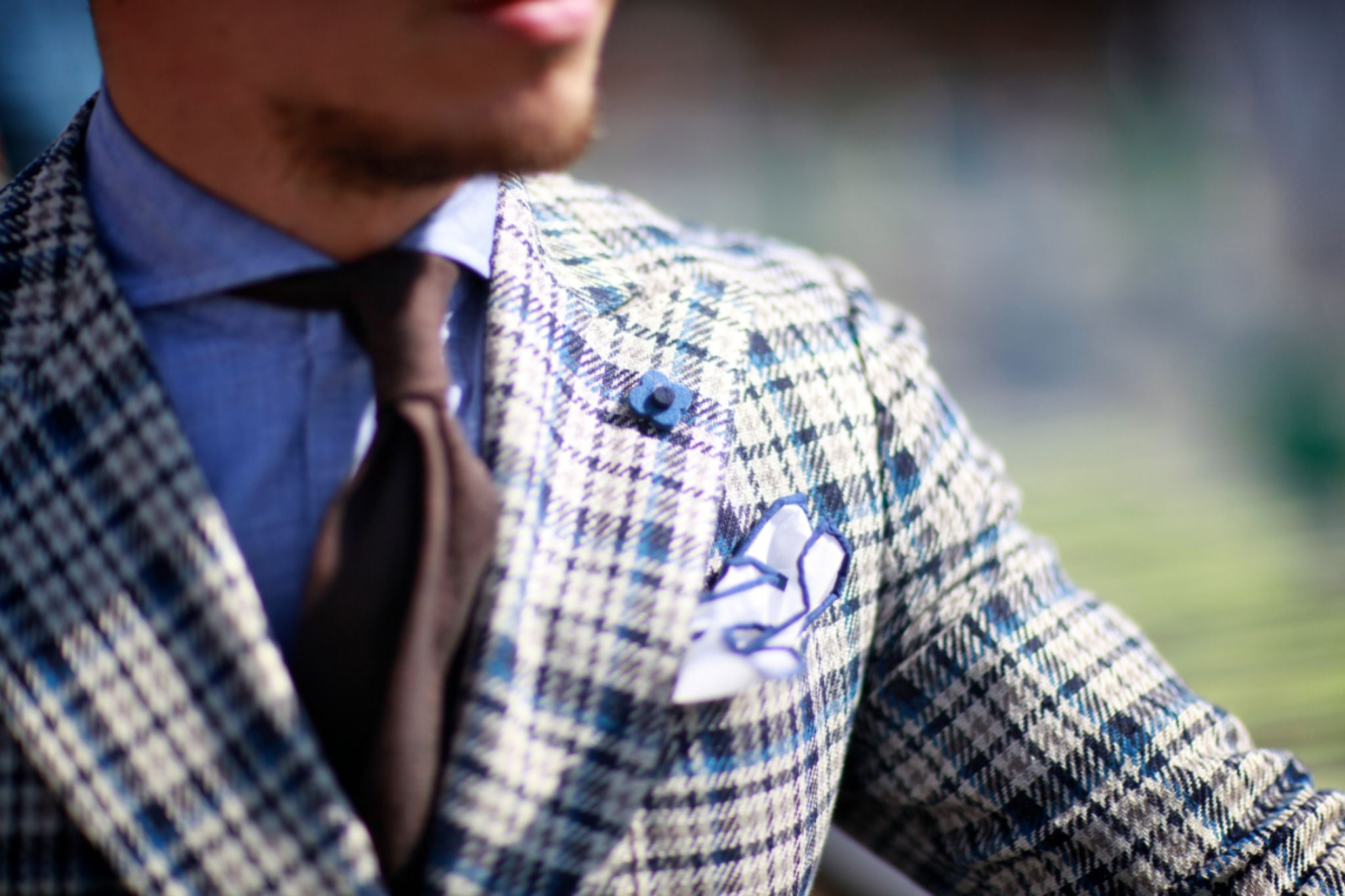Checked blazer with brown linen tie