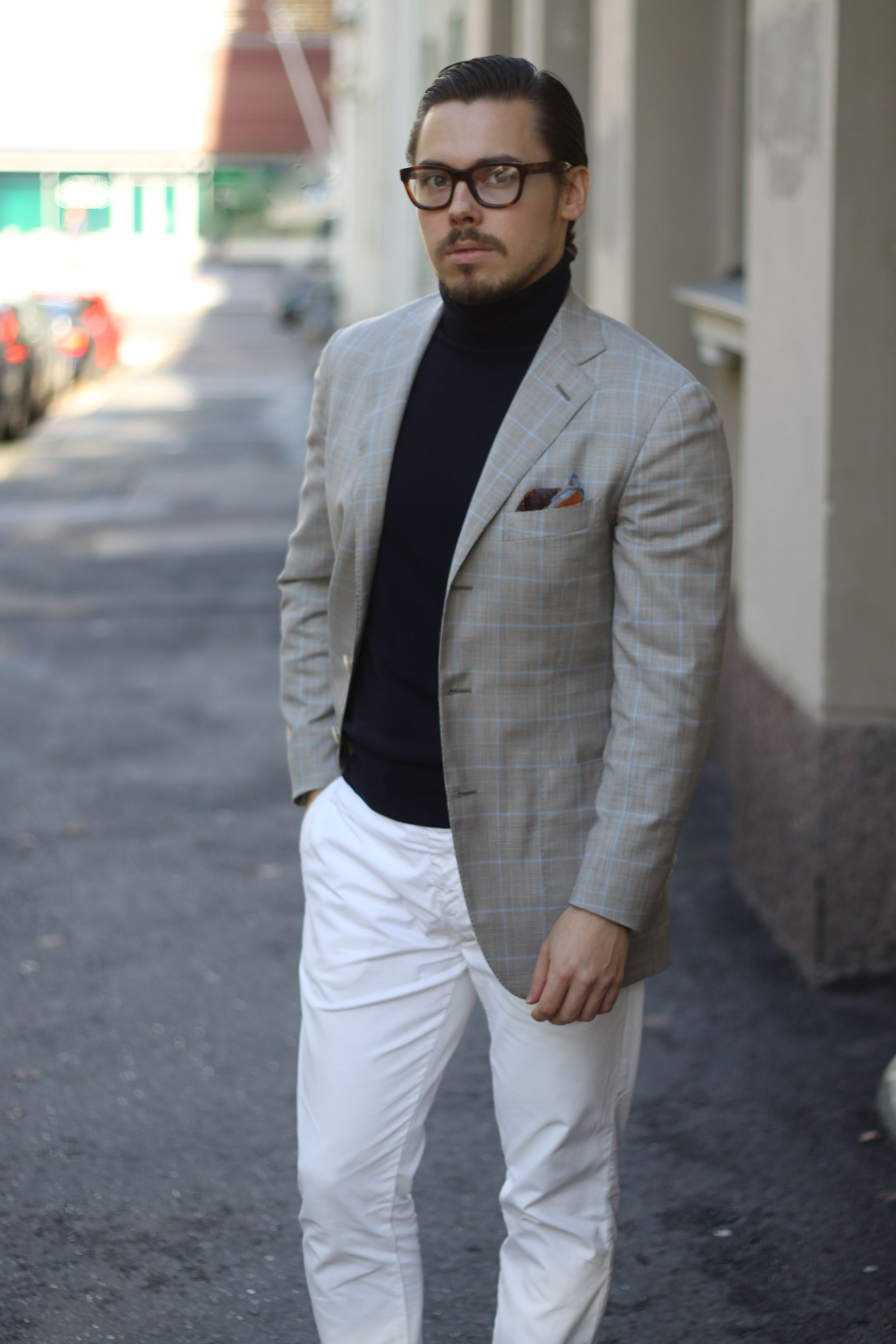 Checked sport coat with white trousers