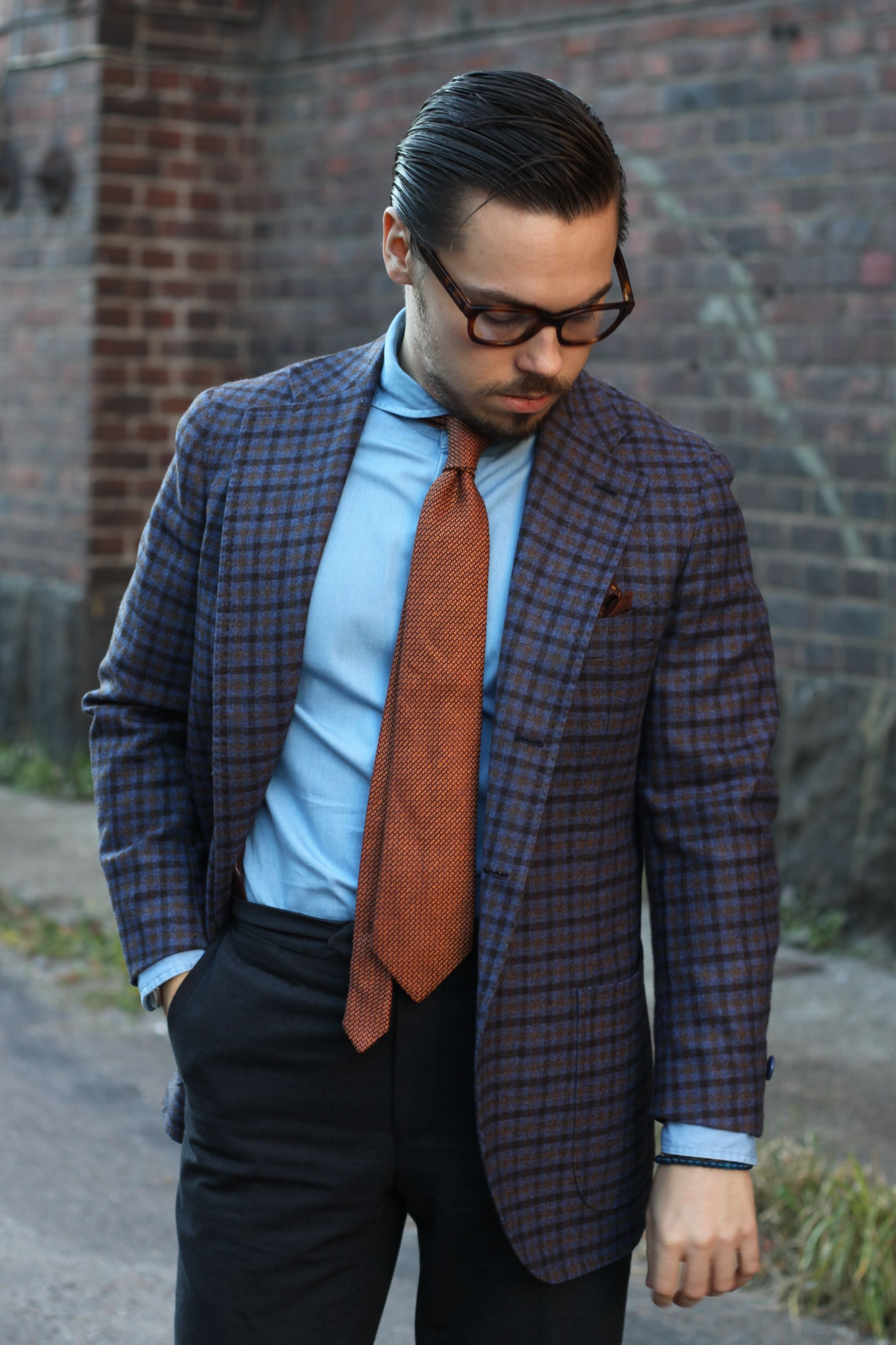Checked wool sport coat with denim shirt