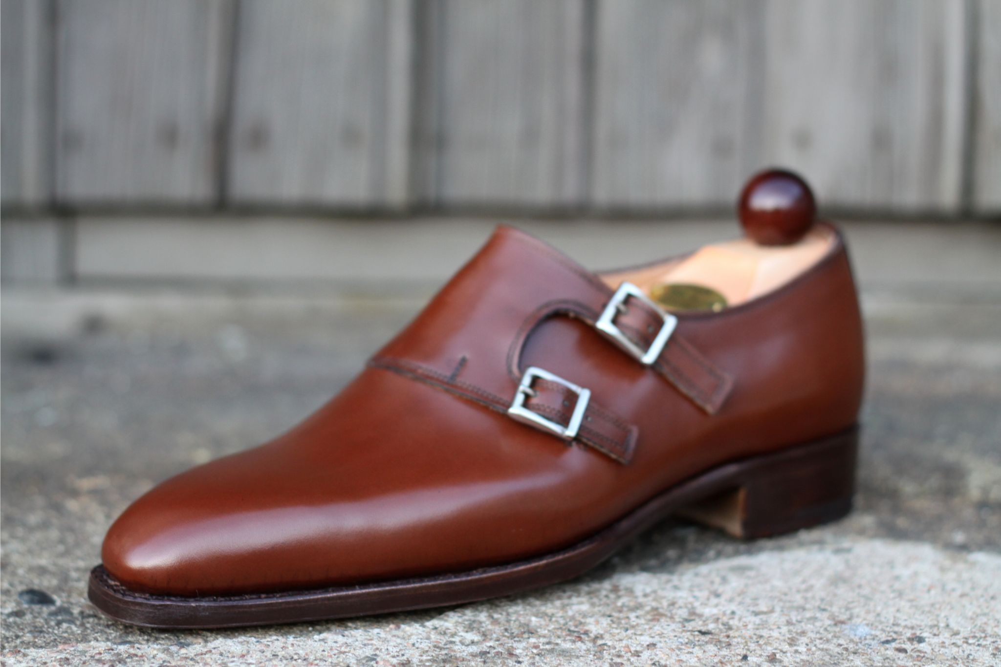 Laszlo Vass - chestnut brown calf leather and silver buckles