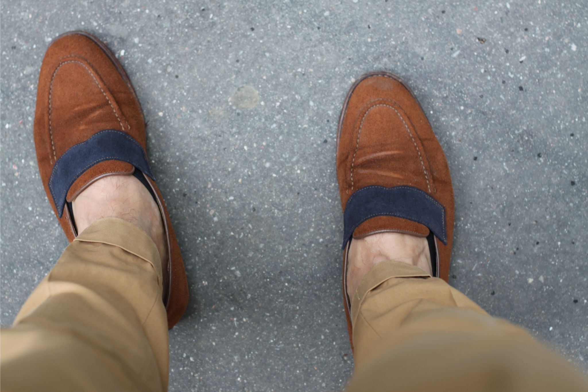 Christian Kimber suede loafers with cuffed cotton slacks