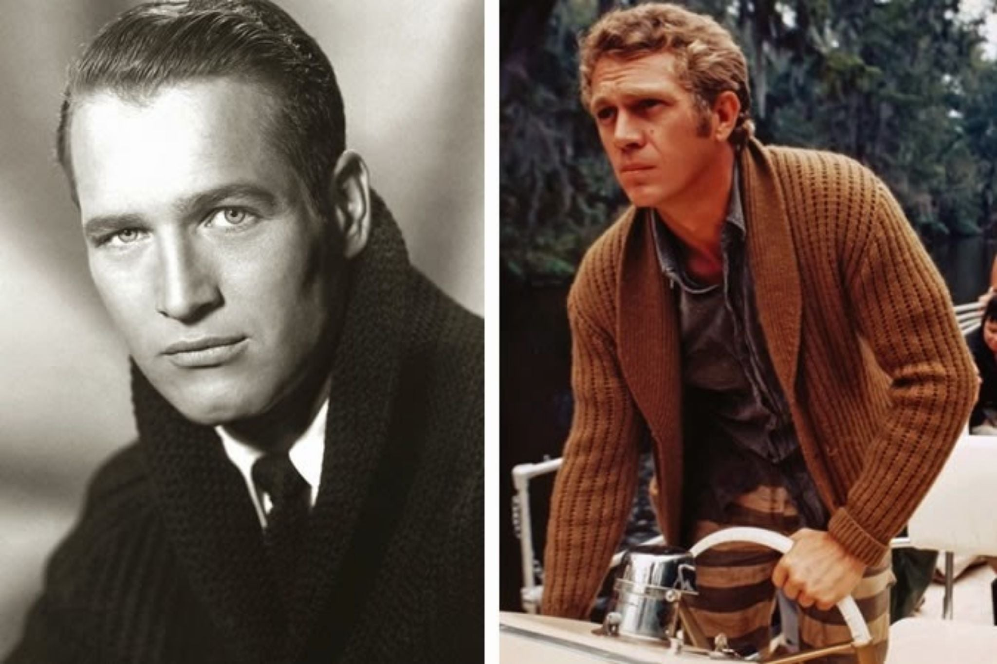 Classic shawl collar inspiration by Paul Newman and Steve Mcqueen