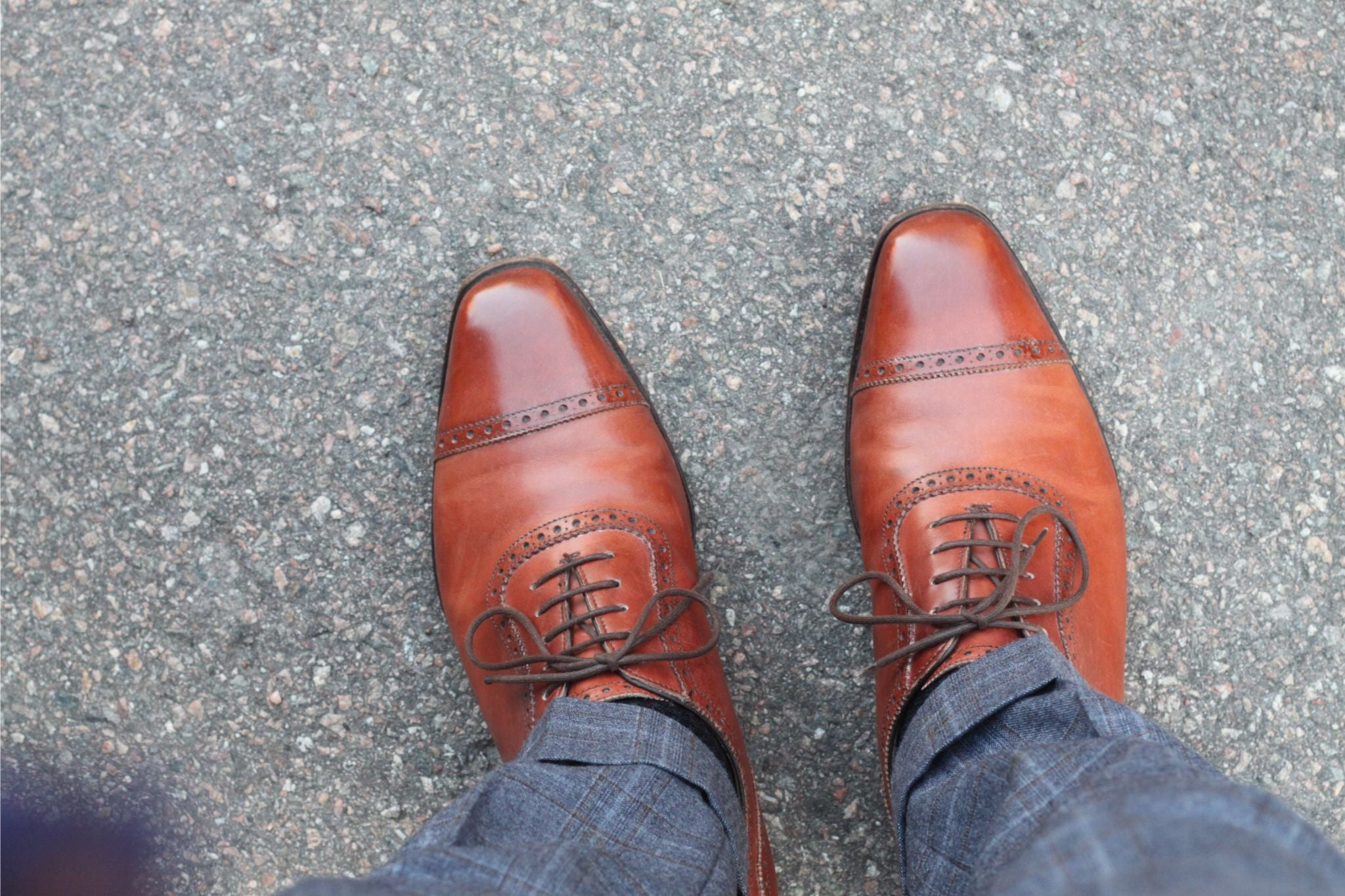 Cognac colored oxford shoes - Alfred Sargent