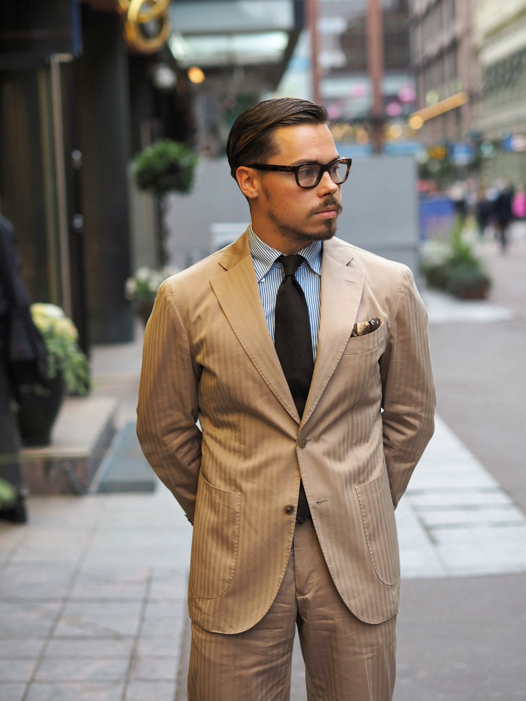 Cotton solaro suit with a brown shantung tie - appropriate for casual office days