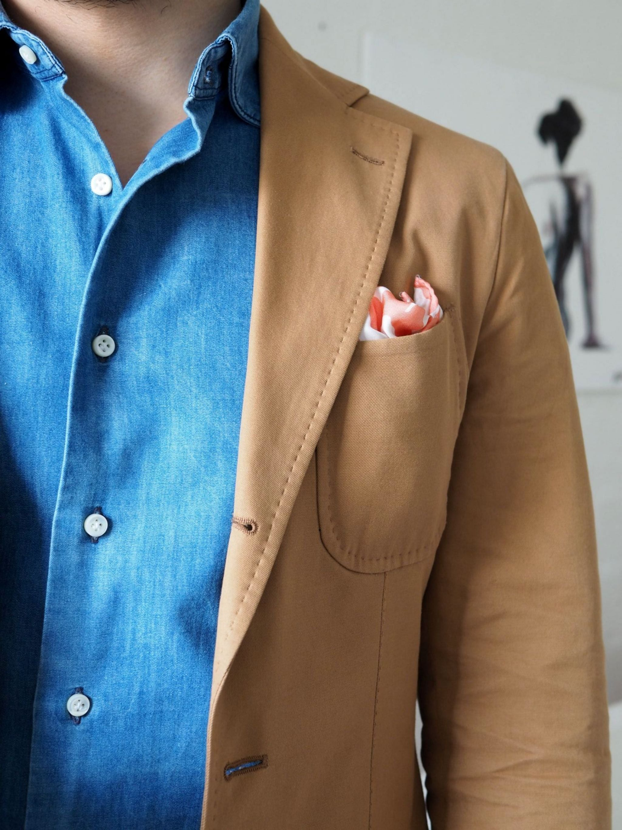 Favorite suits - shades of light brown, blue and pink.