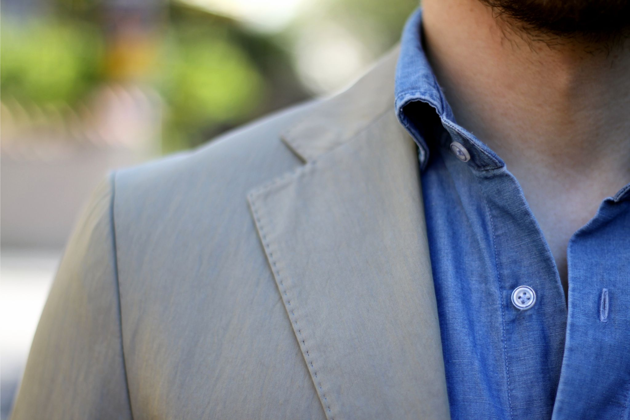 Suit without tie - denim shirt collar details