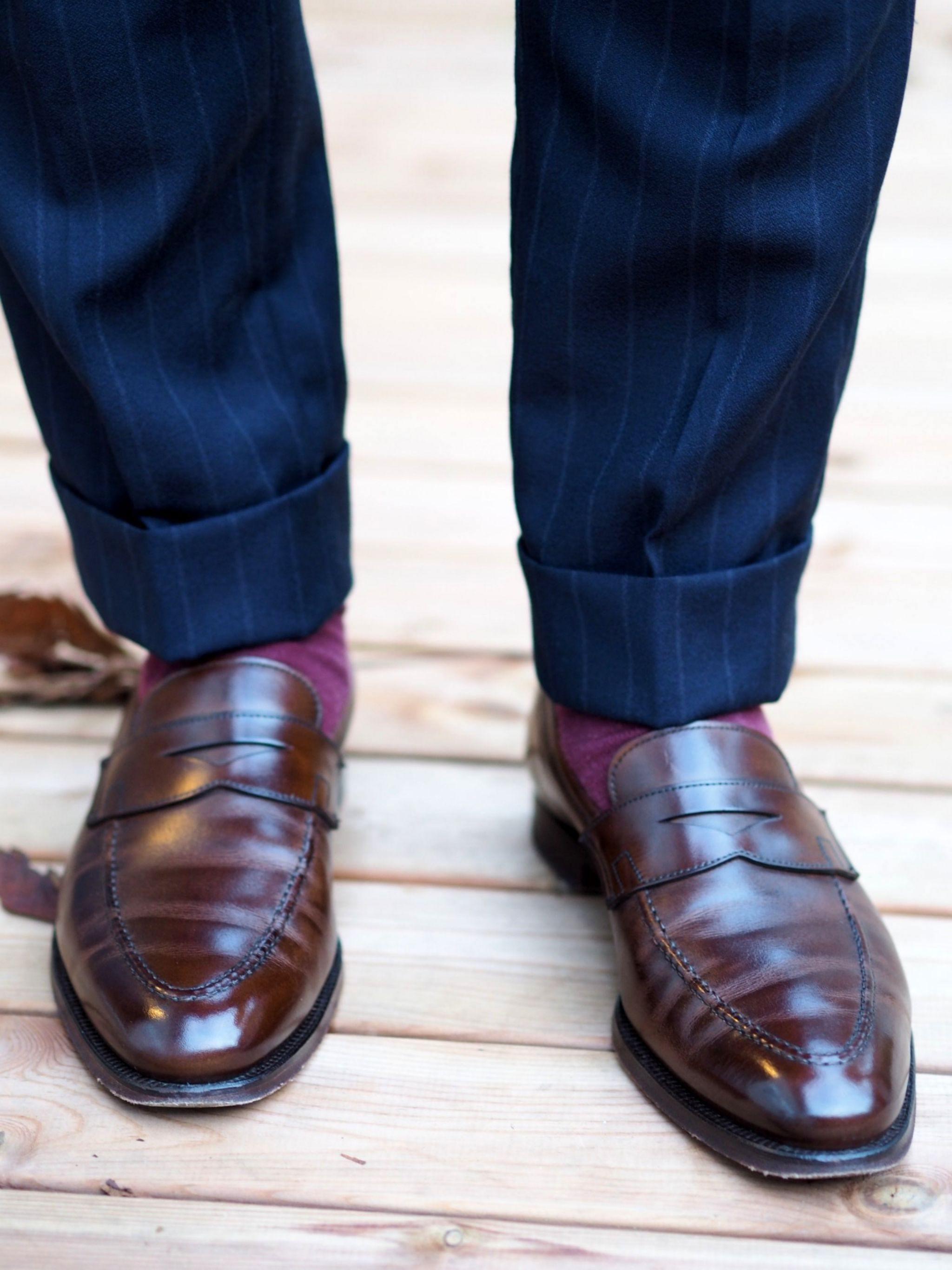 Autumnal business outfits - Crockett&Jones loafers with blue chalk striped suit