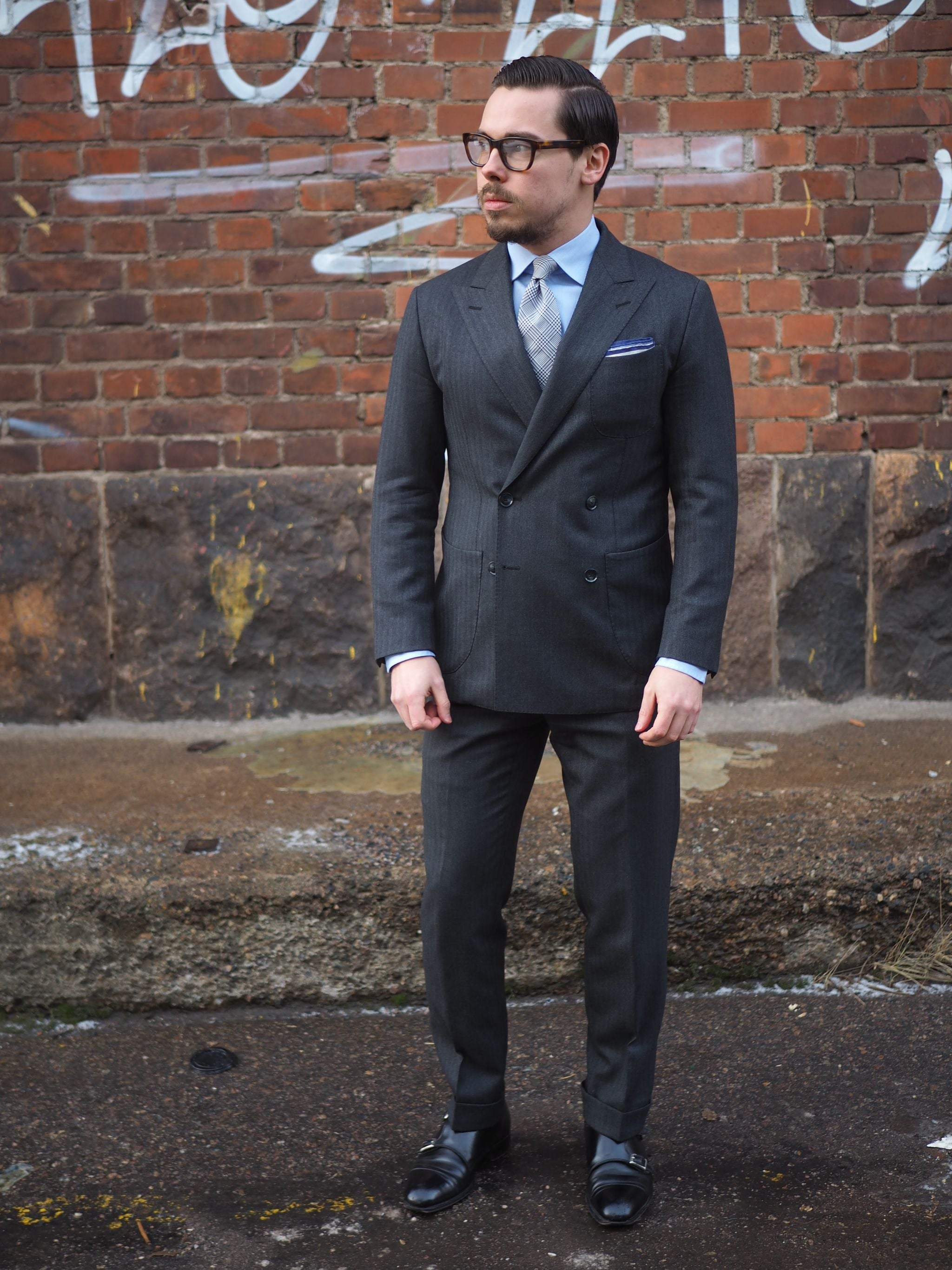 DLA black shoes guide - gray herringbone suit with black double monks