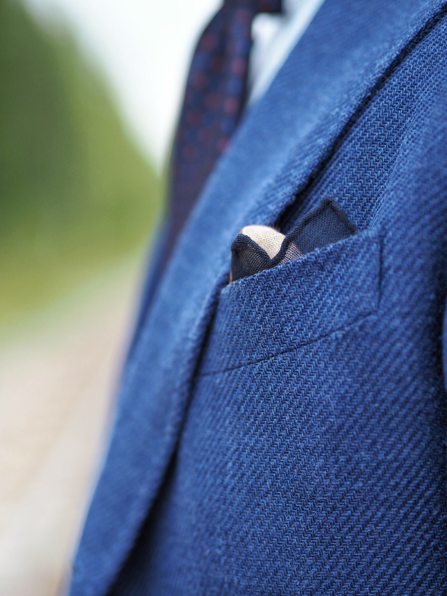 Blue suit jacket as a sport coat - suit jacket details and the herringbone pattern