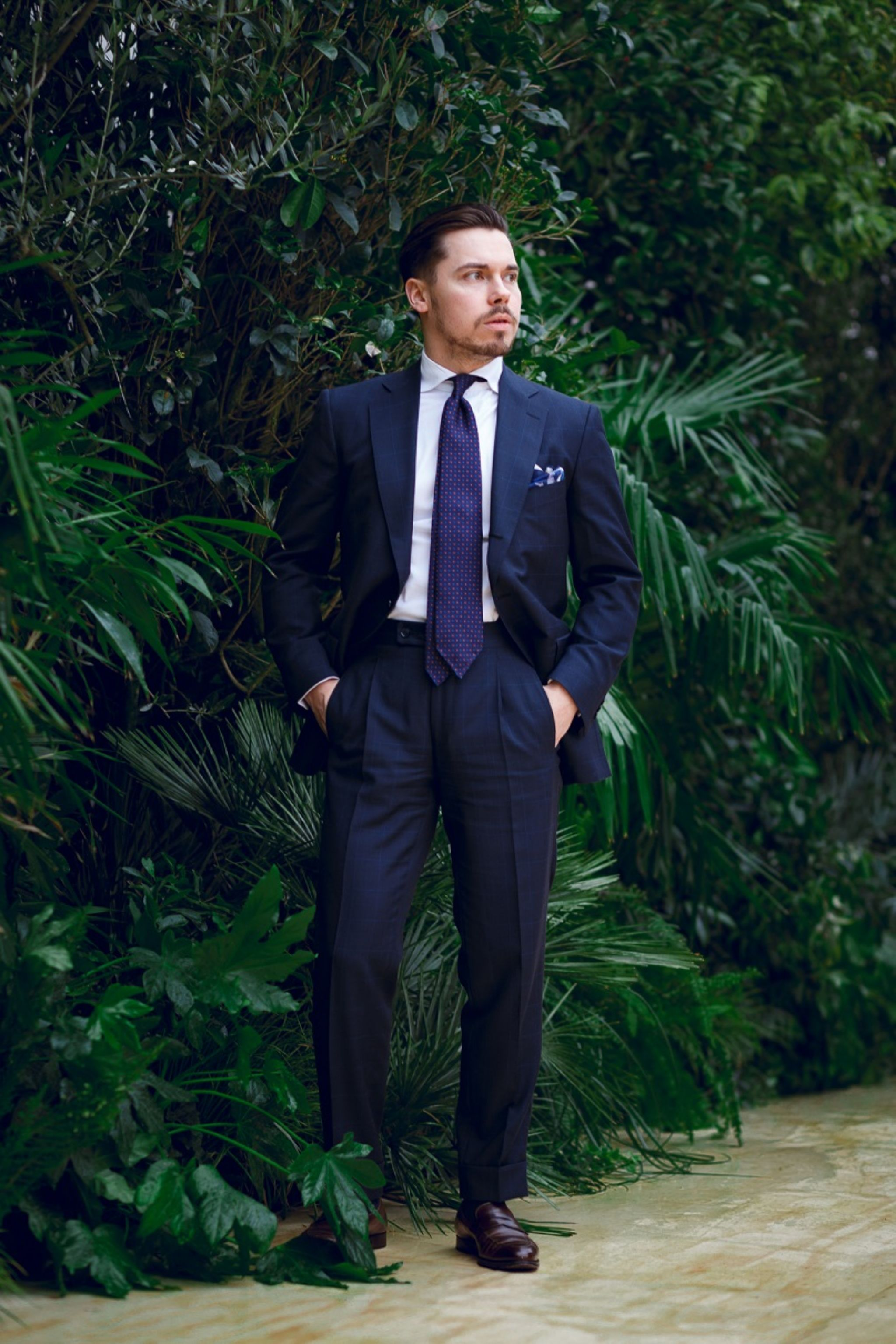 Dark blue Scabal mtm suit with prince of wales check for business wear