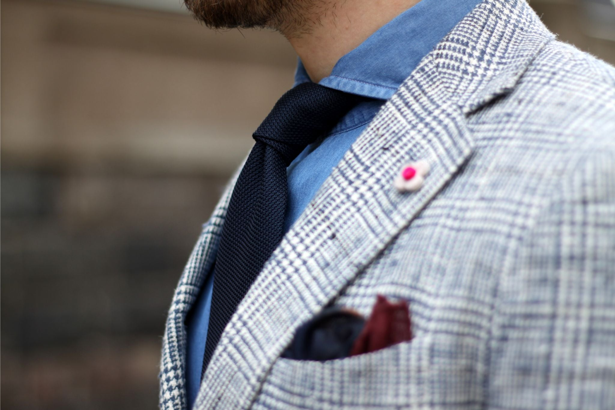 Checked sport coat details - dark blue tie with denim shirt and checked jacket