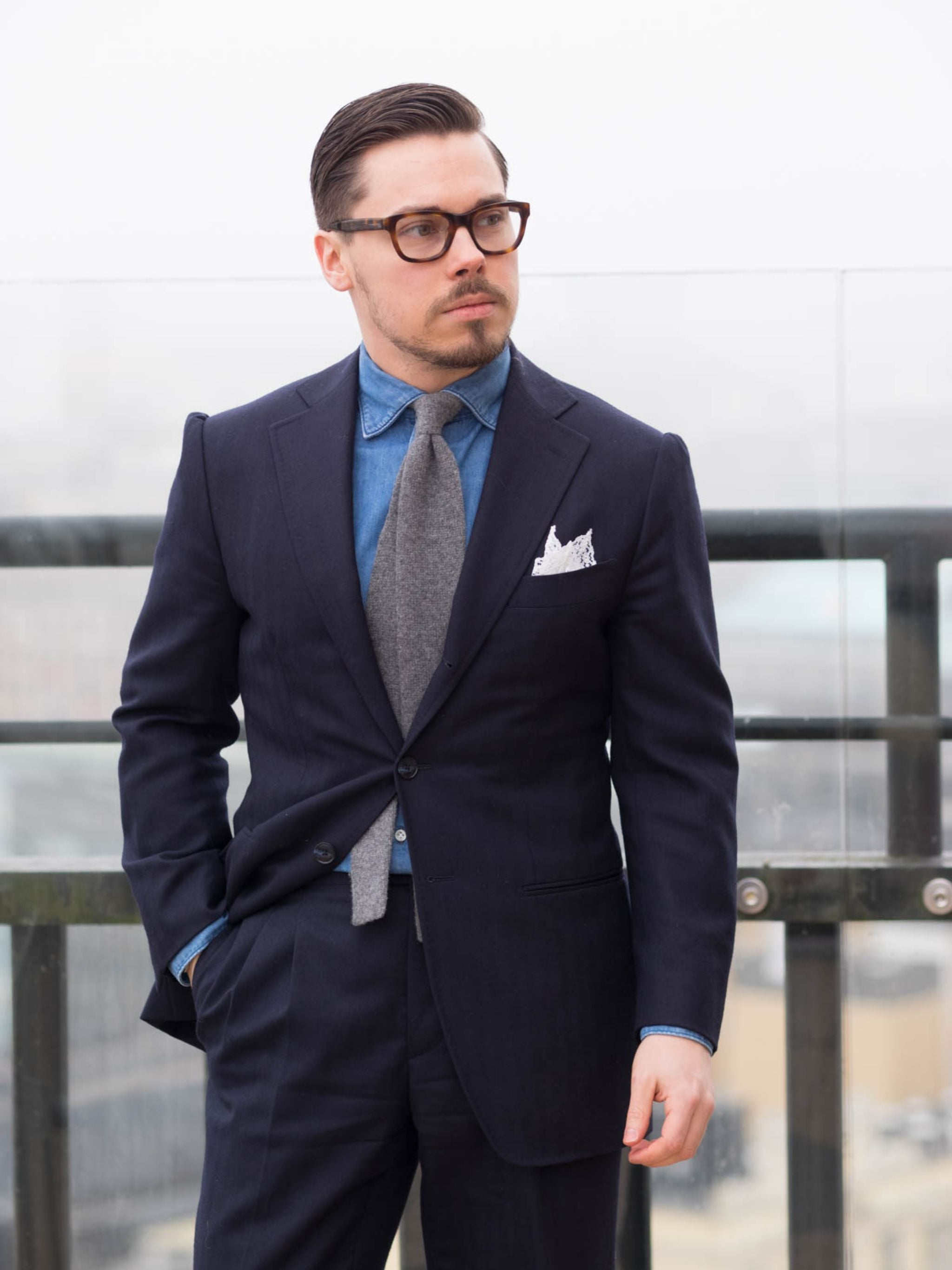 Business suit with denim shirt - DLA denim shirt, dark blue suit and gray cashmere tie