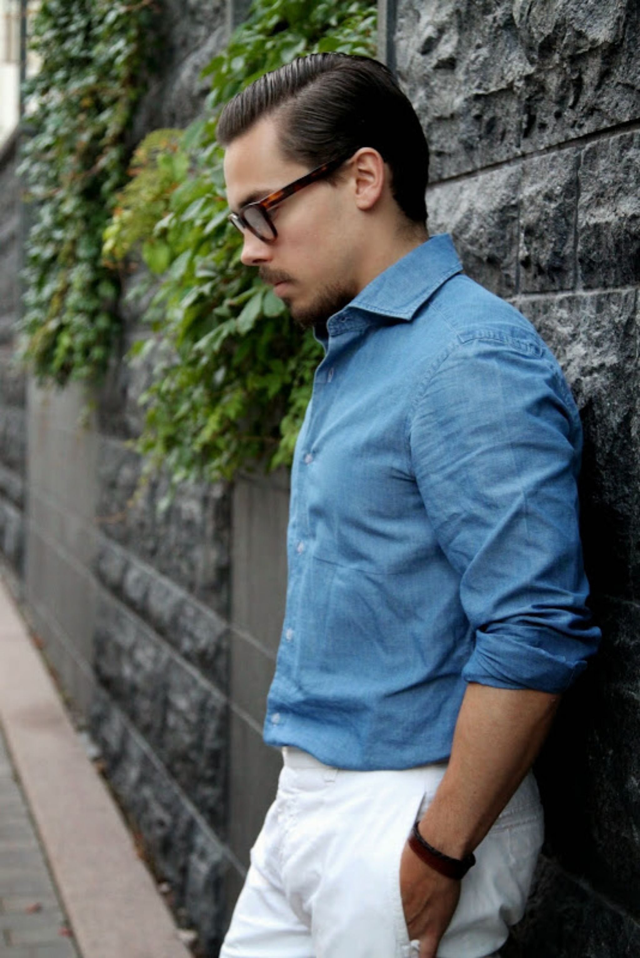 Denim shirt and white trousers