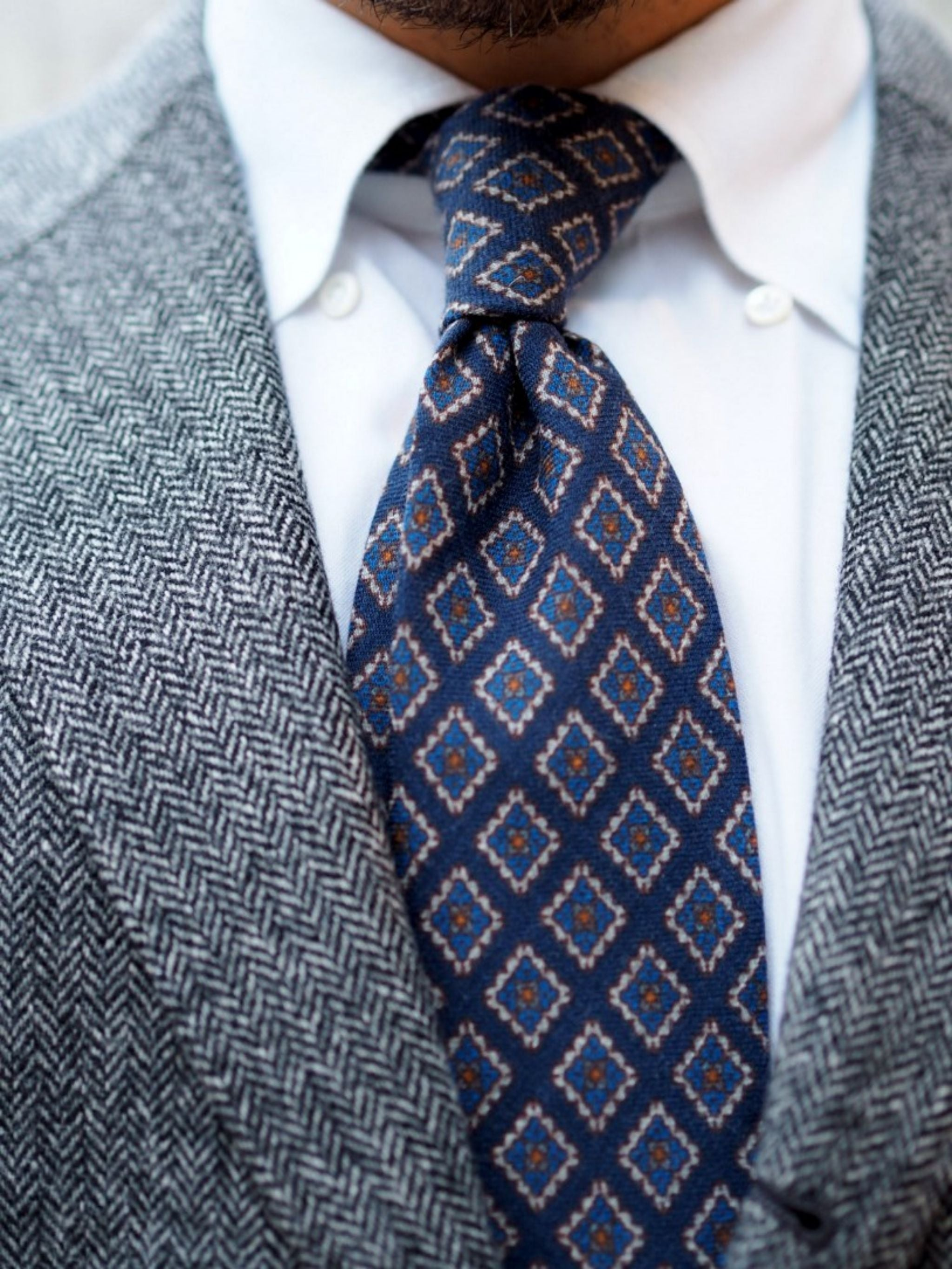 Autumnal business casual outfits - the blue wool tie with double four-in-hand knot