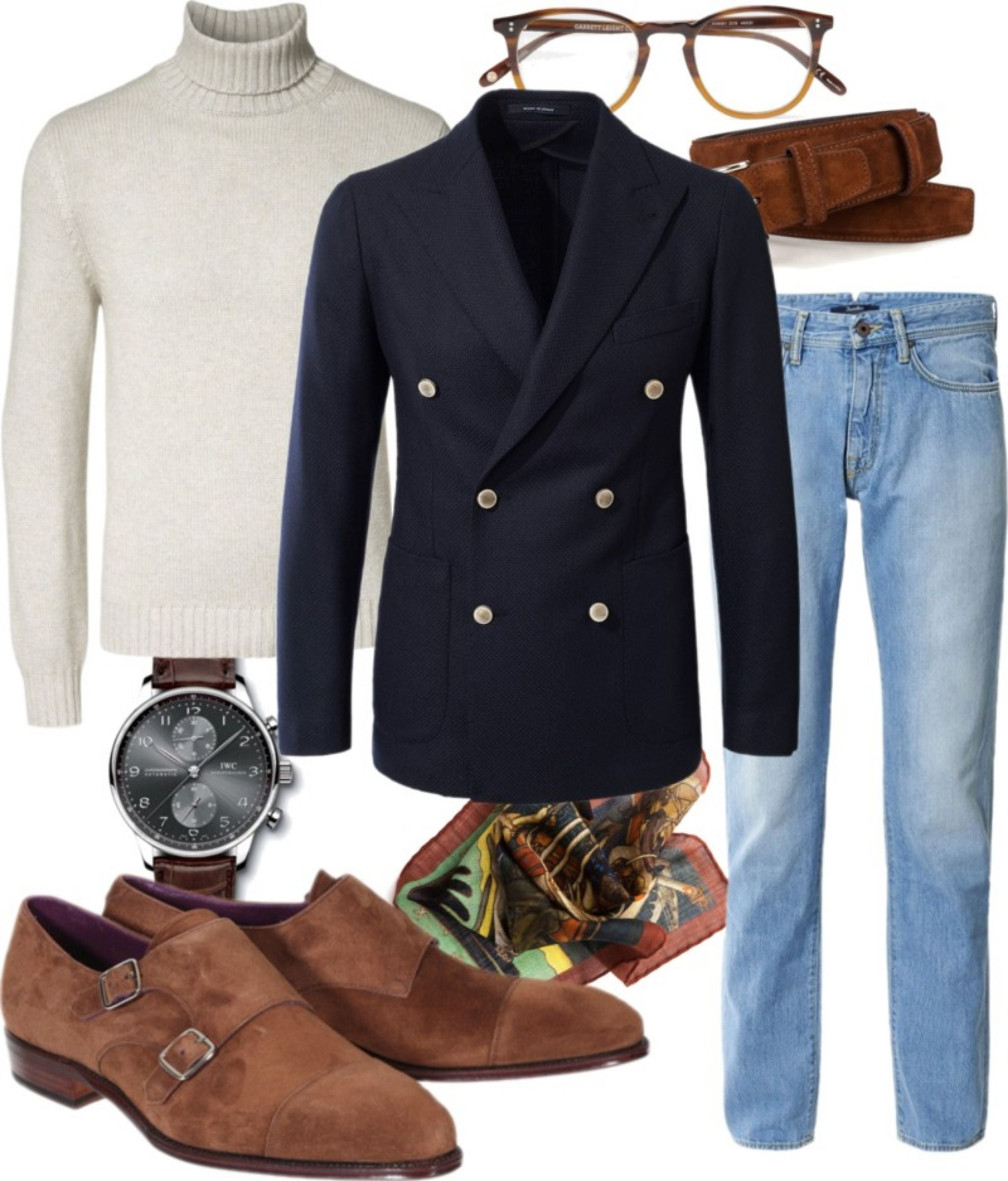 Double-breasted-blazer-with-jeans-and-roll-neck-sweater