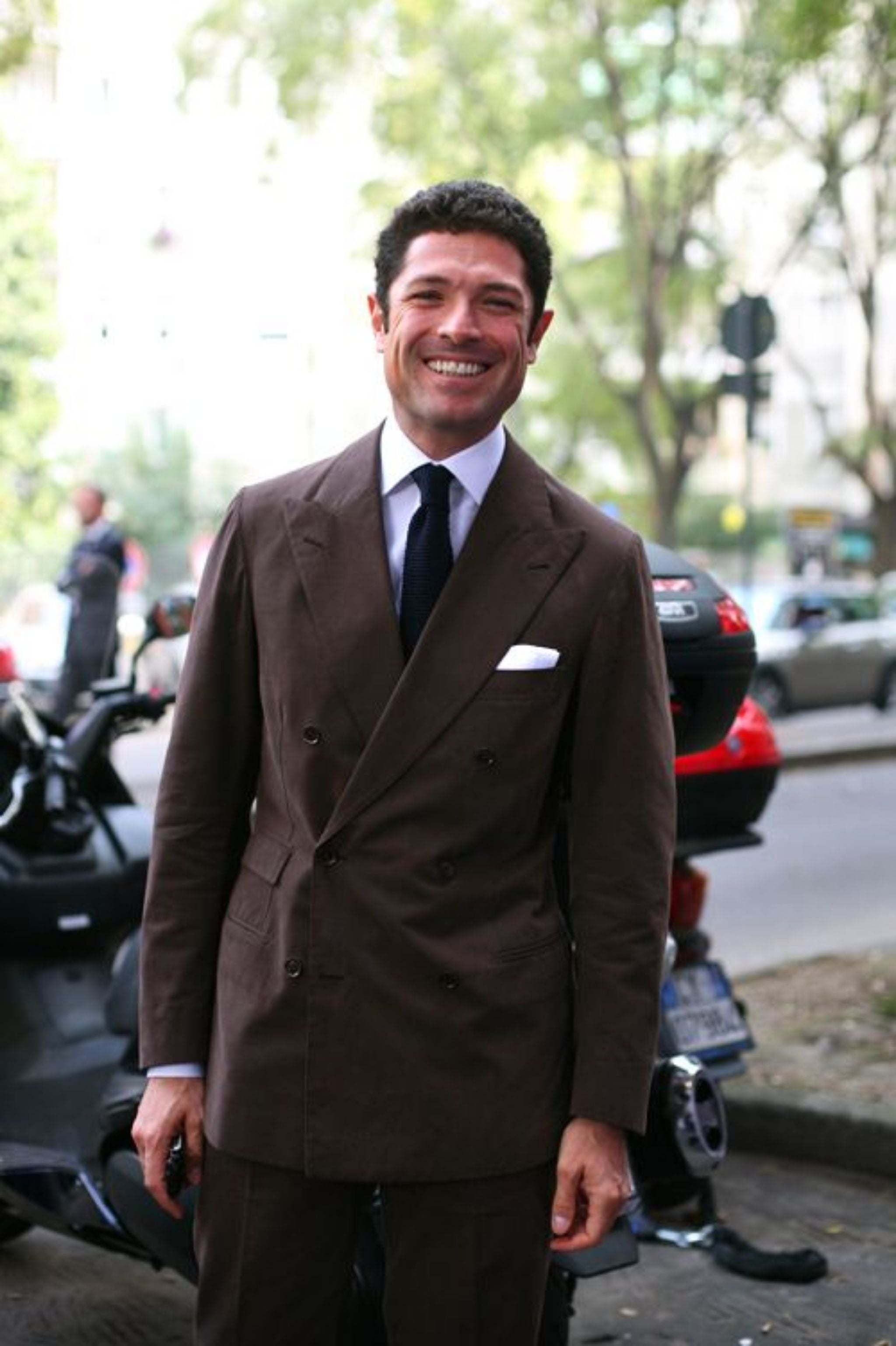 Double-breasted dark brown cotton suit