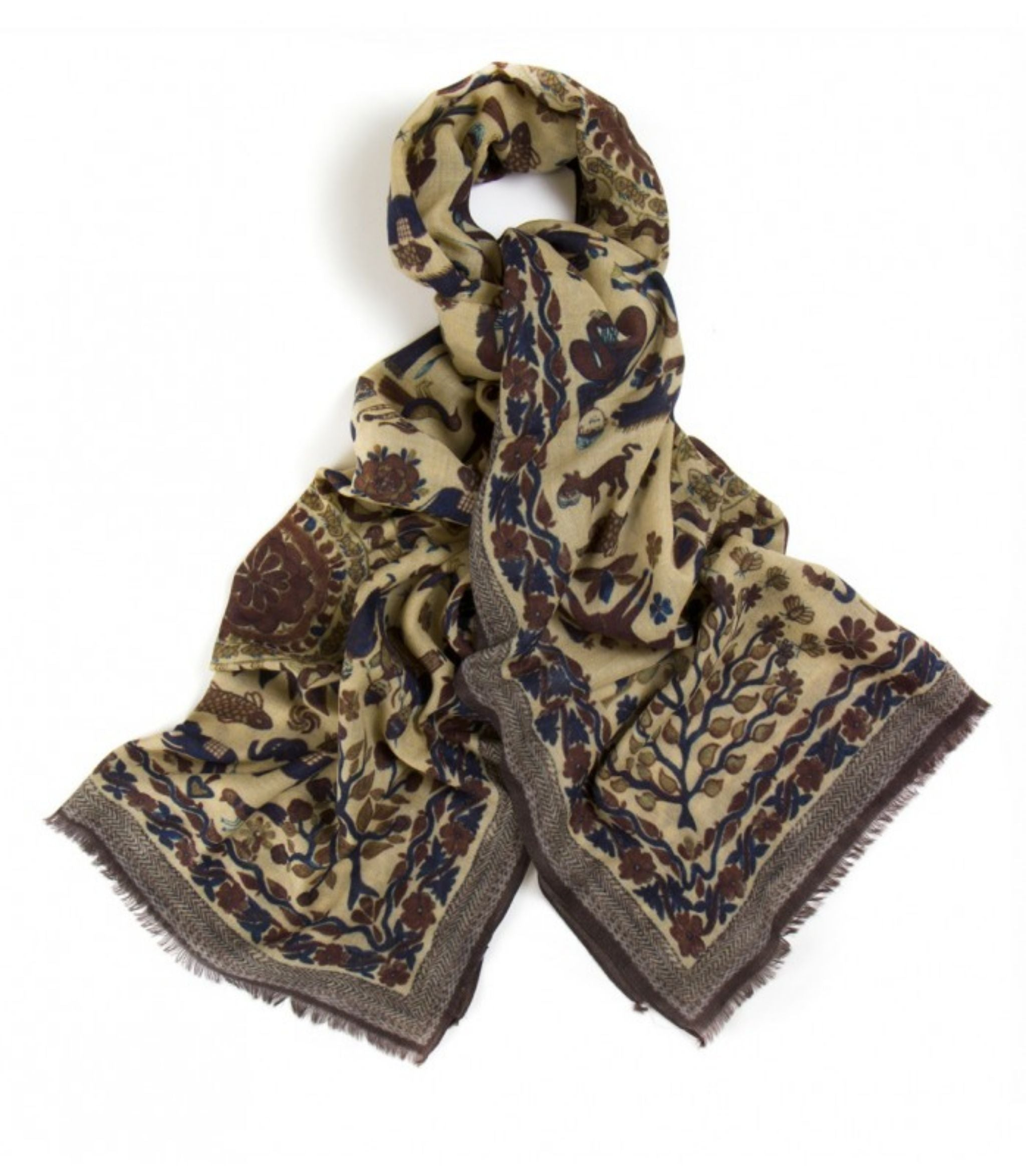 Drake-s-Natural-Indian-Sunrise-Print-Wool-Scarf - Drake's London