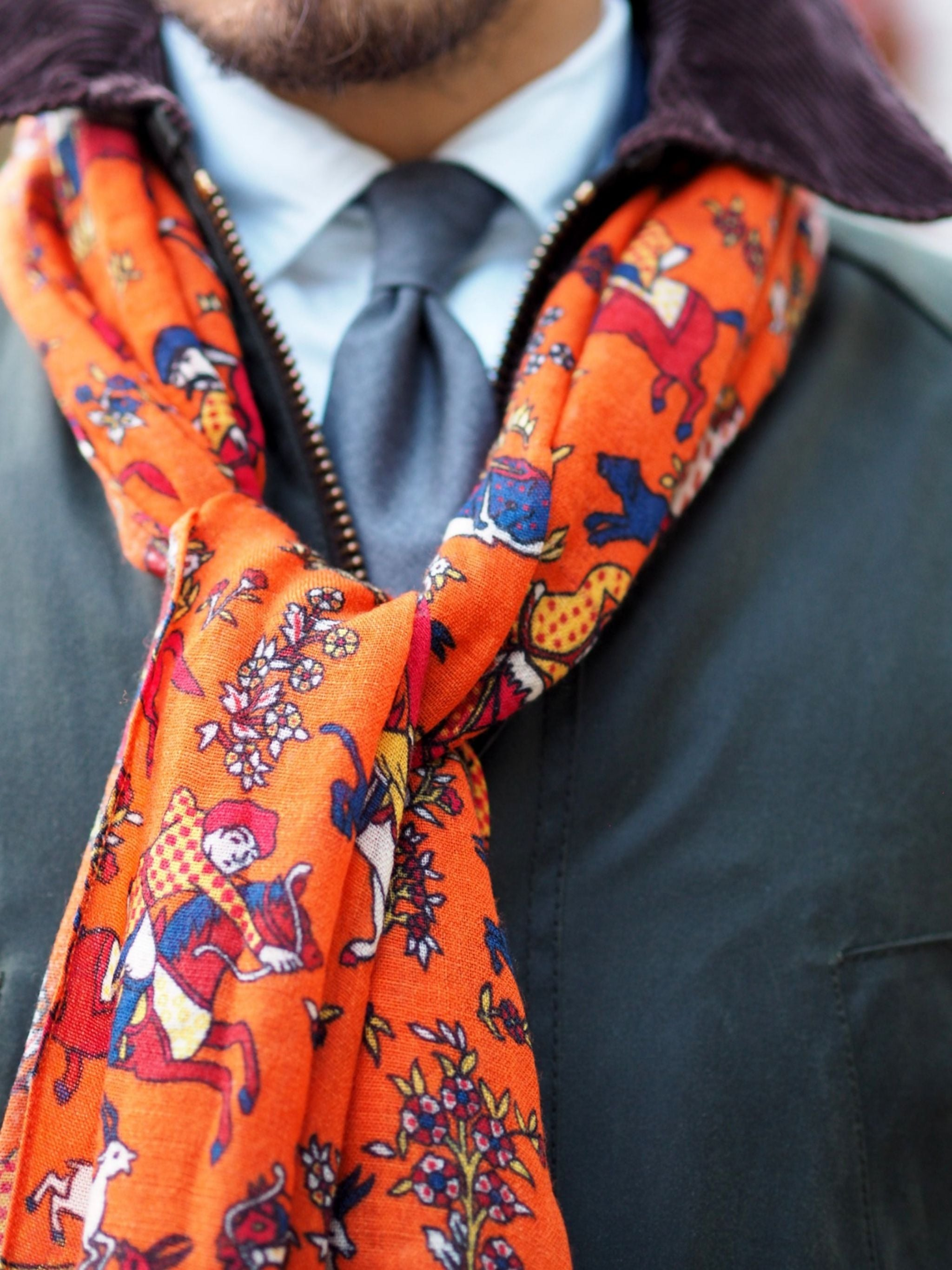 Autumnal business outfits - Drakes London printed scarf details