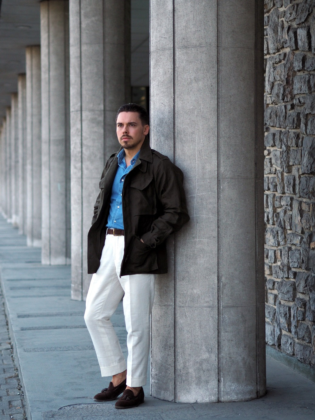 The M-43 field jacket - white linen slacks with the olive green jacket and denim shirt