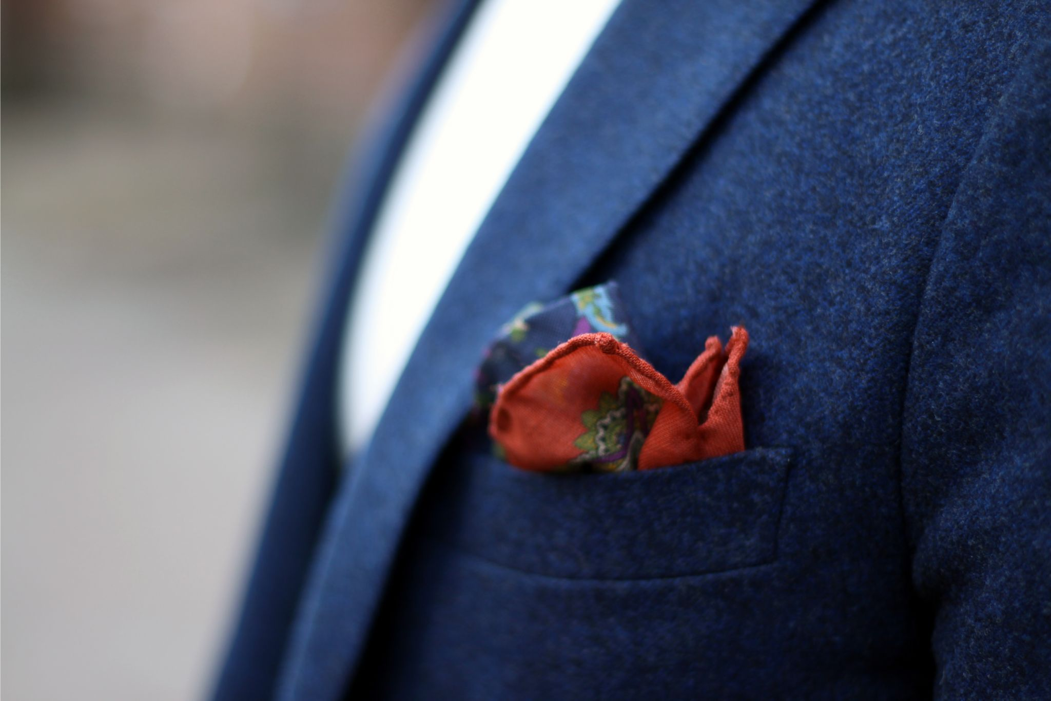 Drake's London pocket square with Mabro navy blue blazer