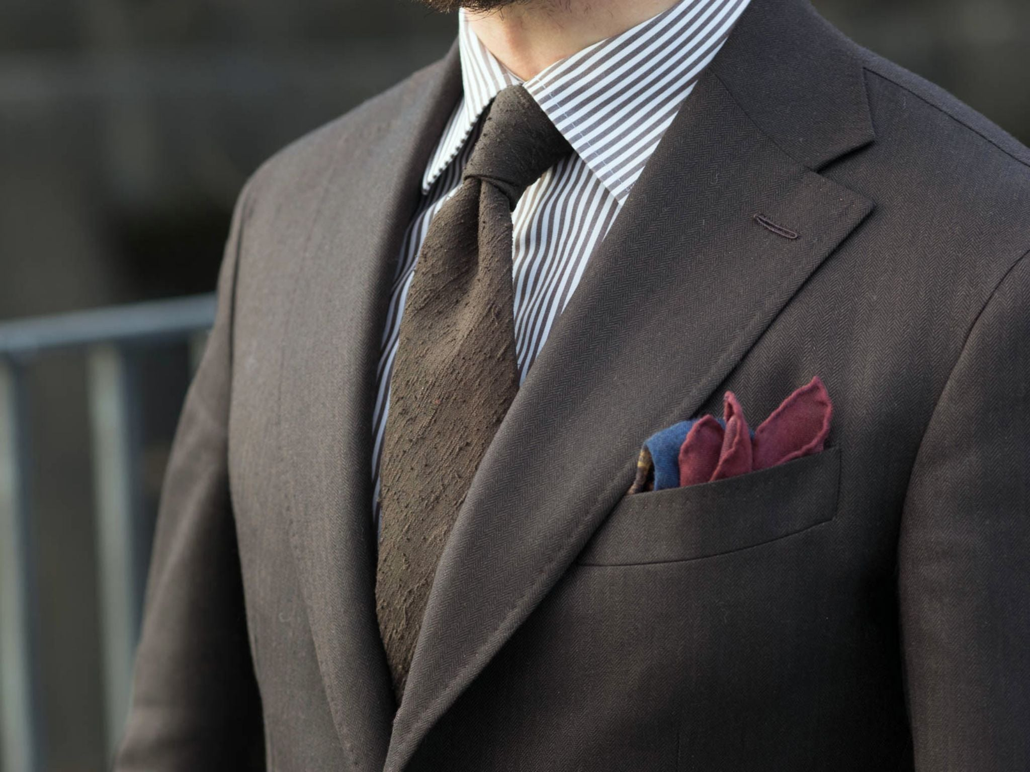 Pitti Uomo 91 DLA look book preview - brown shantung silk tie with the Symposium pocket square